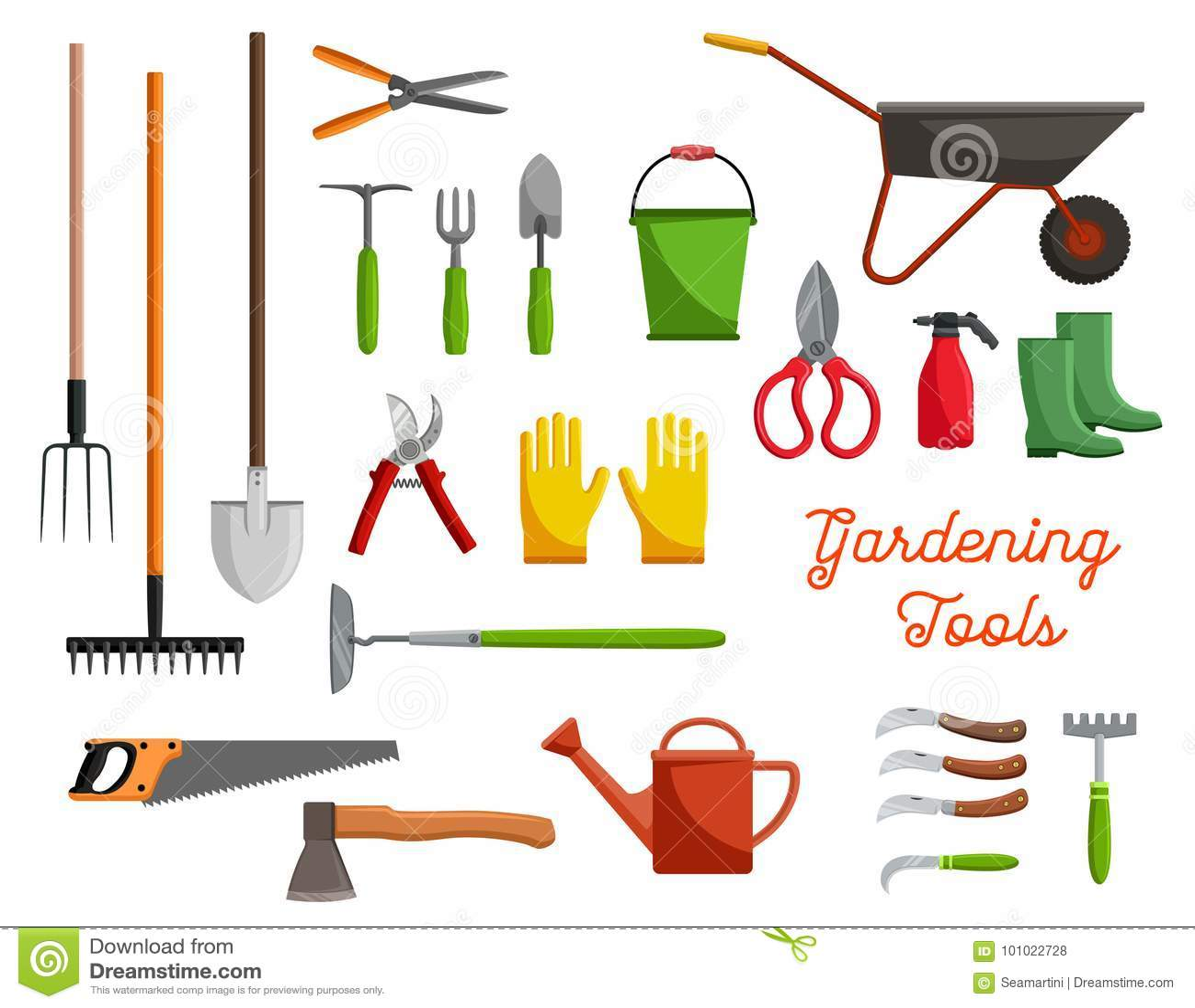 Vector Icons Of Farm Gardening Tools Stock Vector