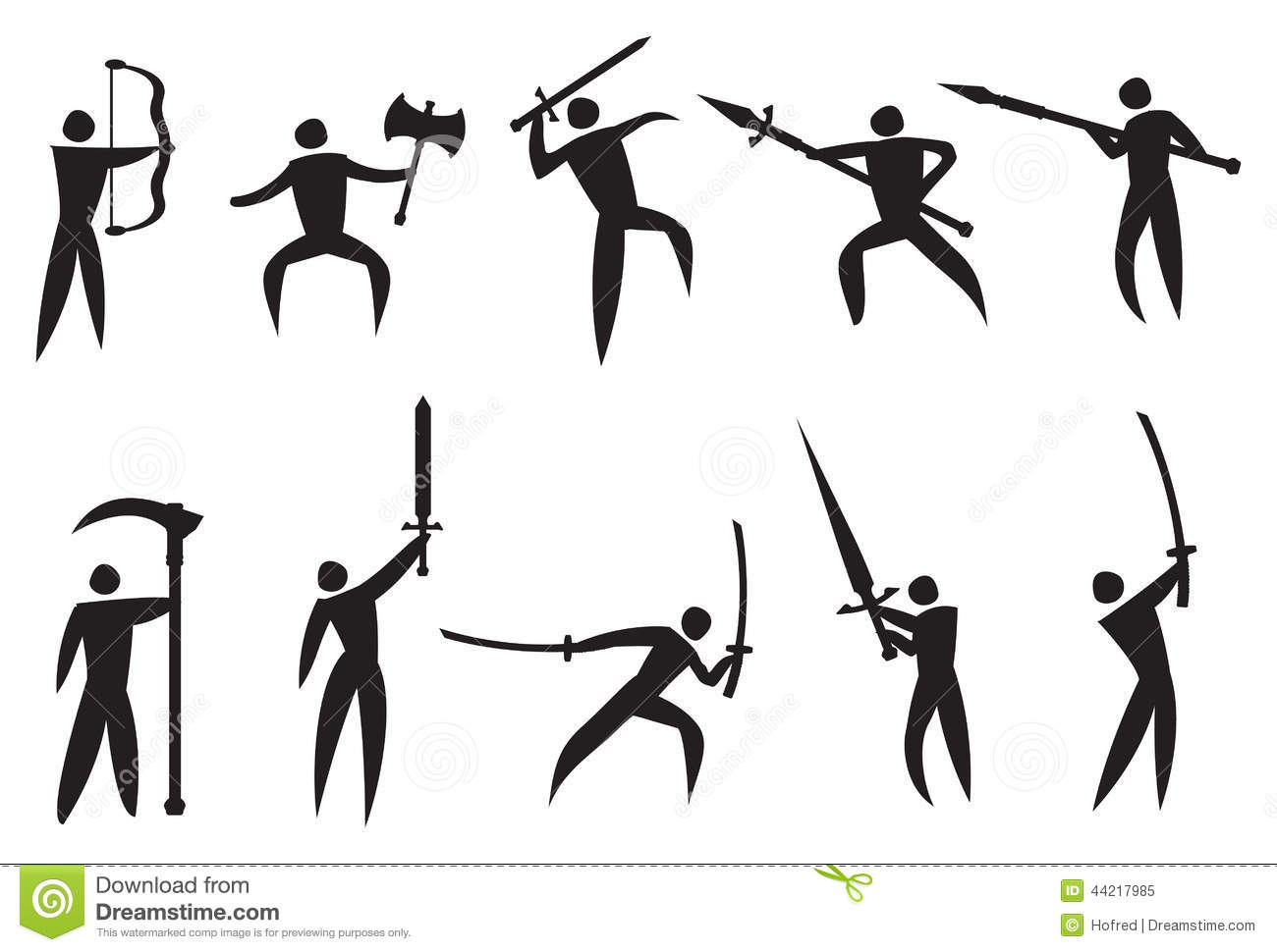 Vector Icons Of Martial Arts And Weapons Stock Vector