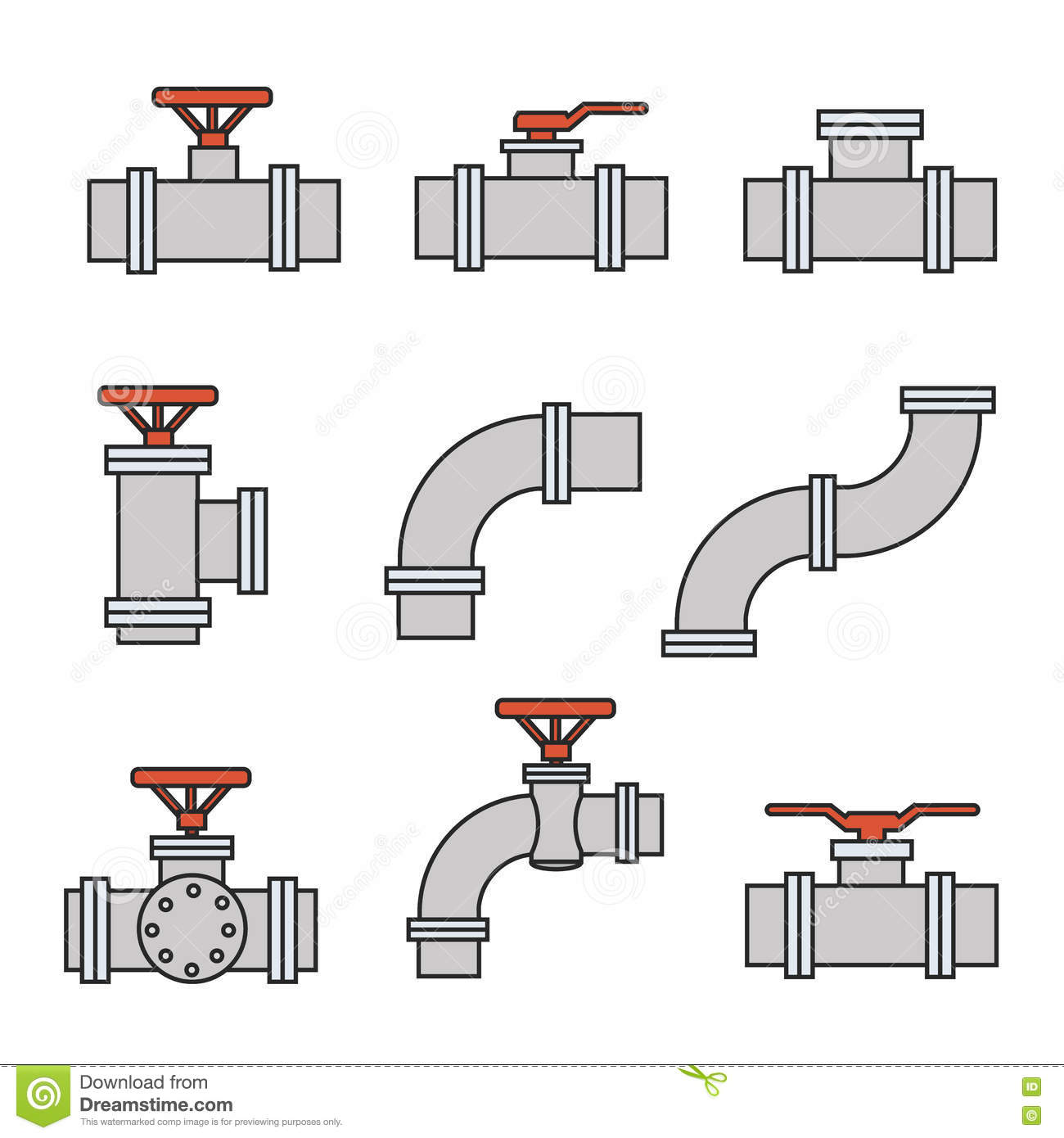 Vector Icons Of Pipe Connector Valve For Plumbing Piping
