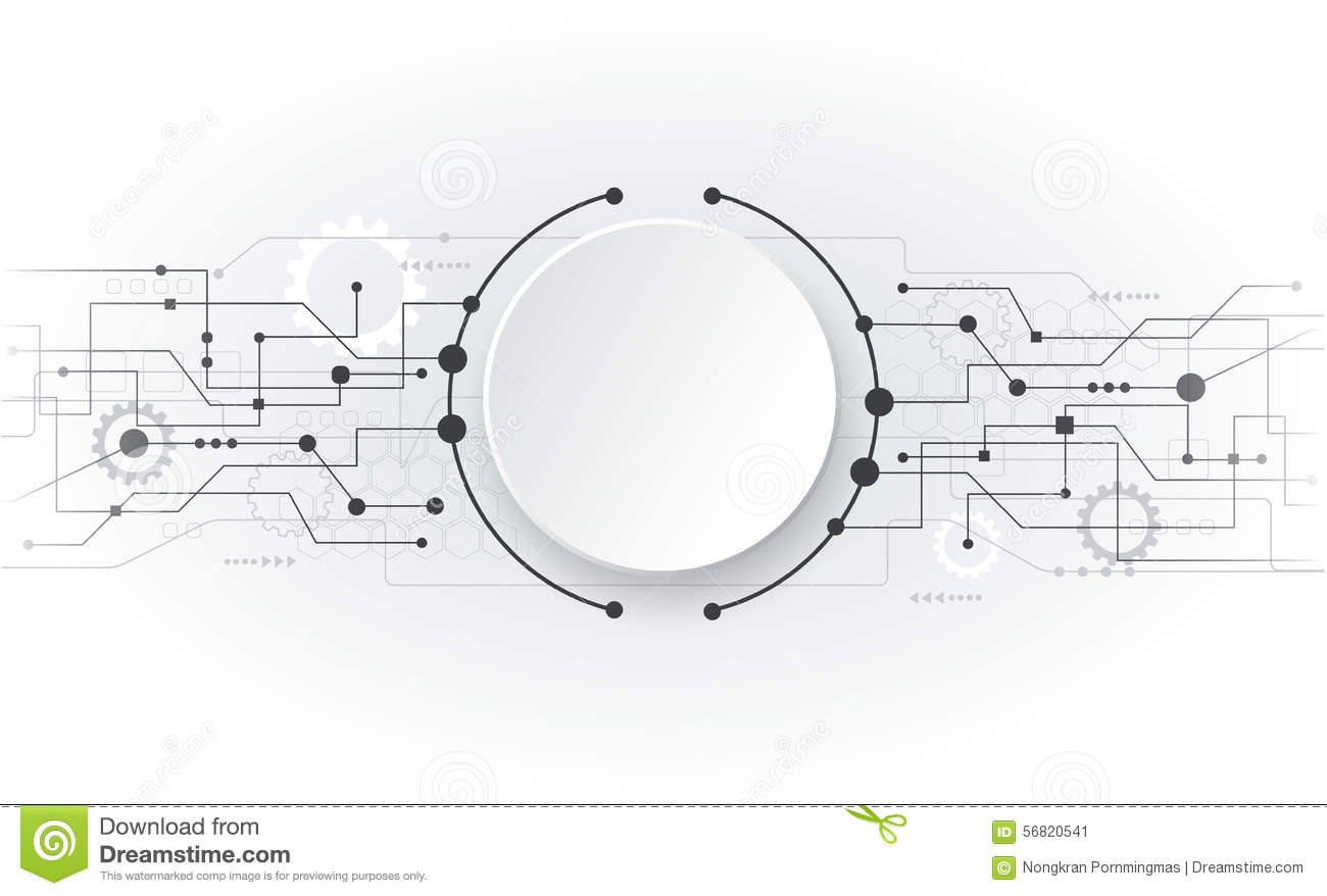 Vector Illustration Abstract Futuristic White Circuit