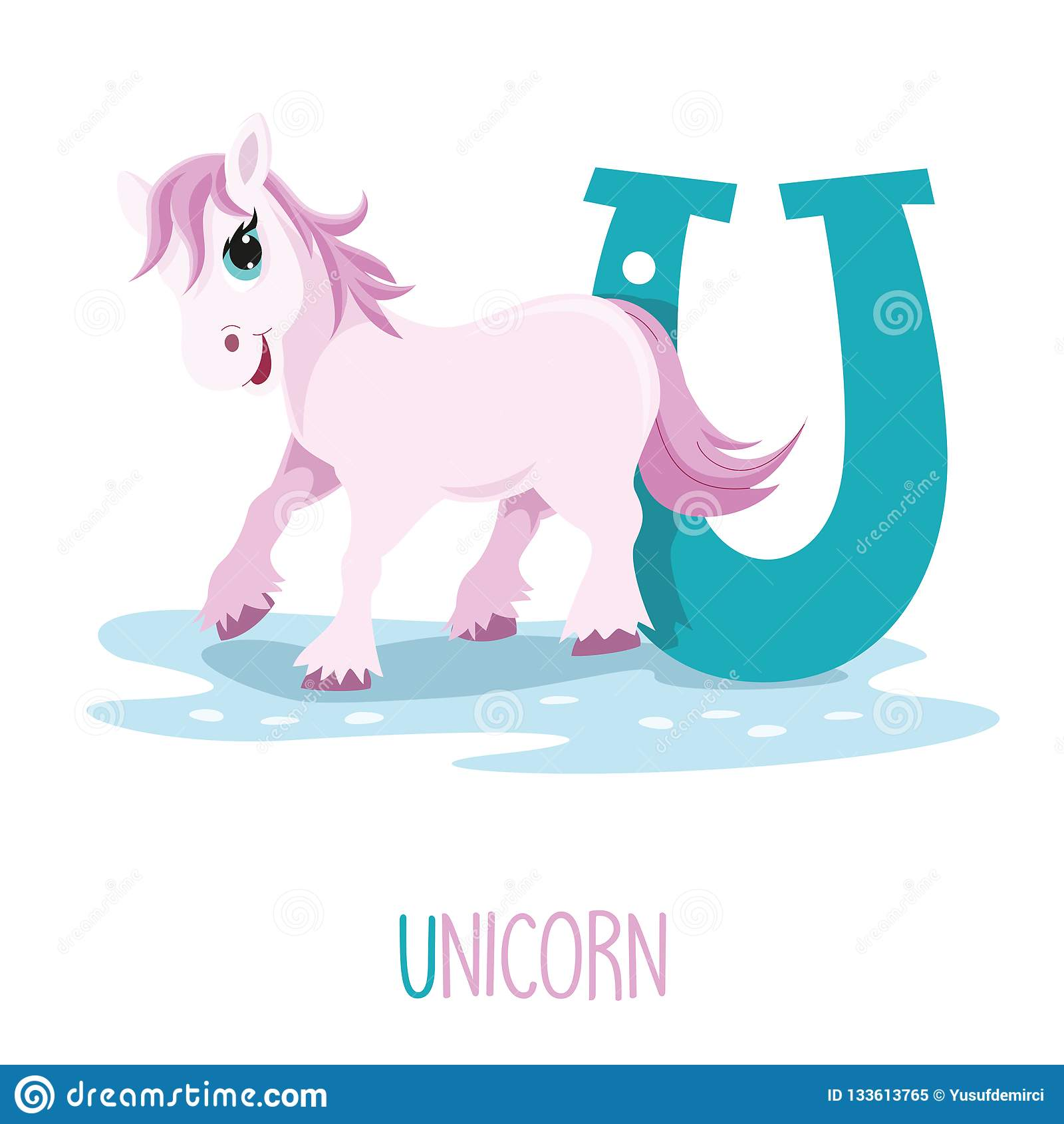 Vector Illustration Of Alphabet Letter U And Unicorn Stock
