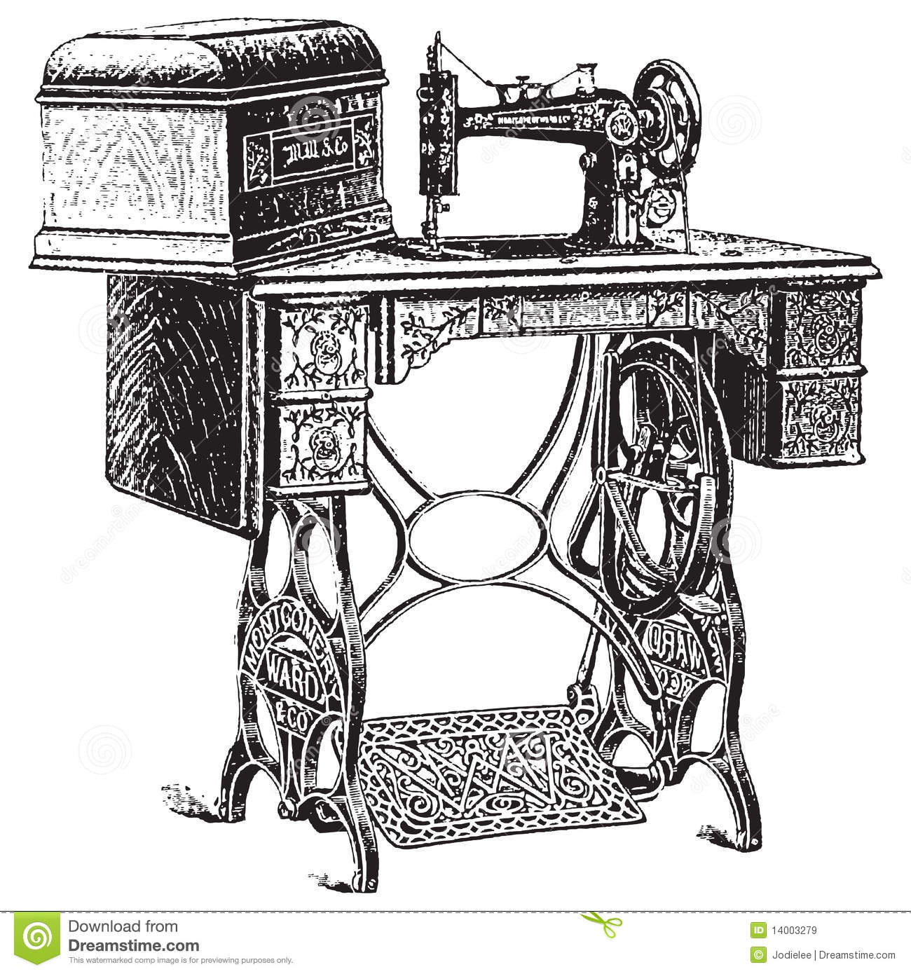 Vector Illustration Of Antique Sewing Machine Stock Vector