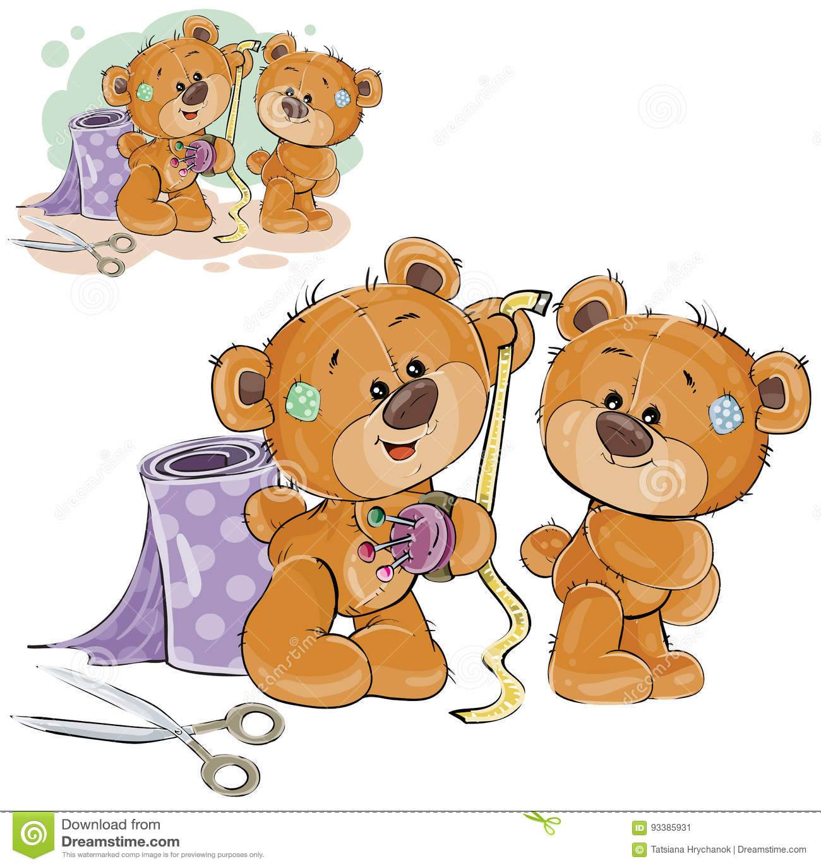Vector Illustration Of A Brown Teddy Bear Tailor Measuring