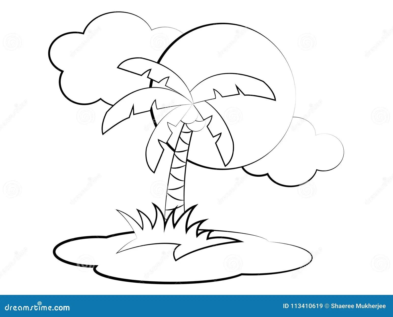 Vector Cartoon Palm Tree Coloring Page Stock Vector