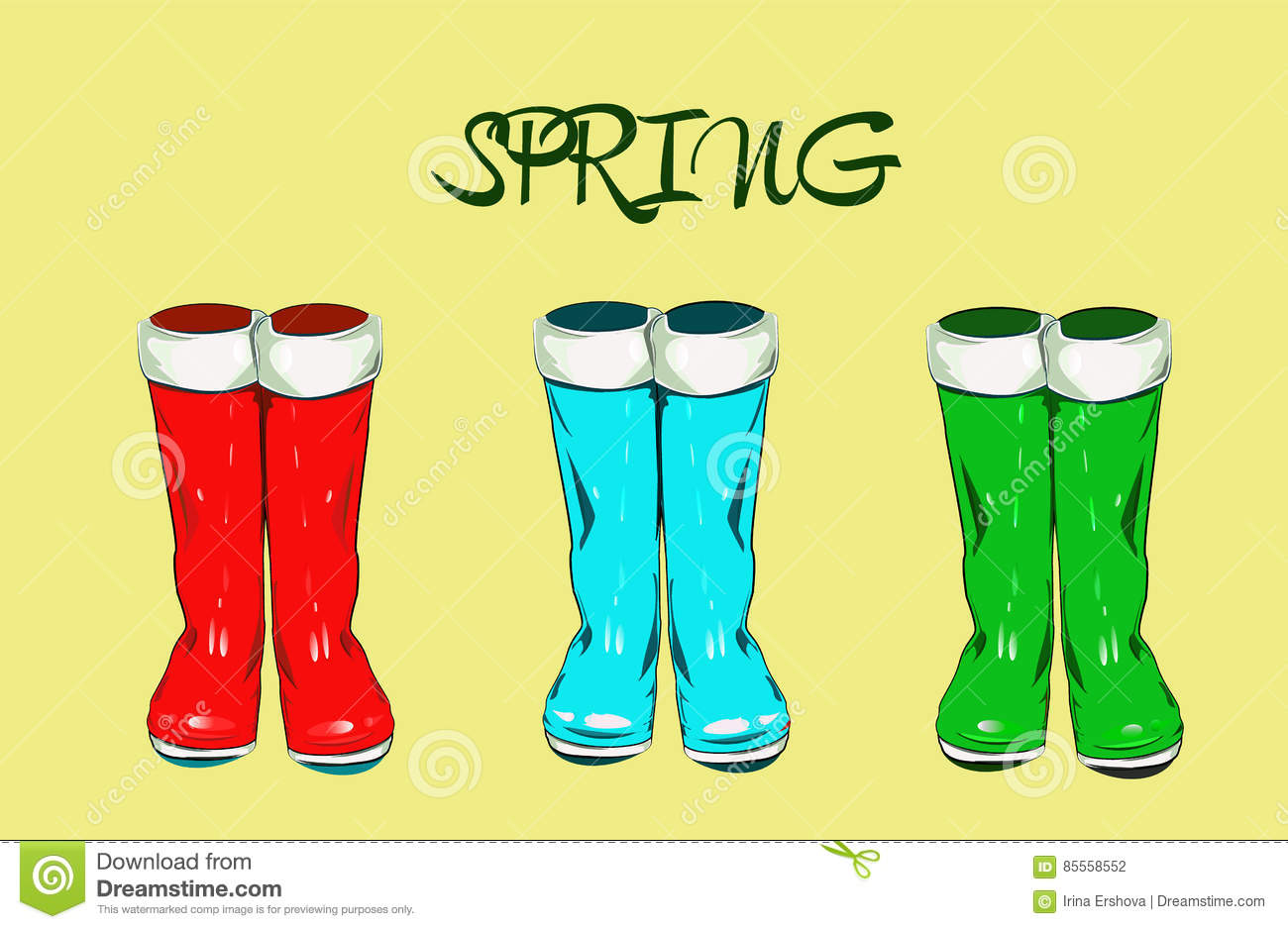 Vector Illustration With Color Boots Vector Illustration