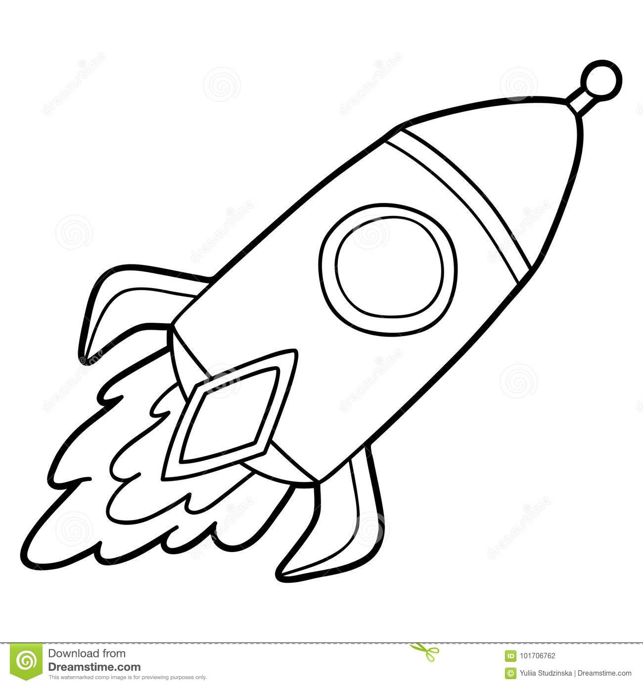 Outline Rocket Stock Vector Illustration Of Contour