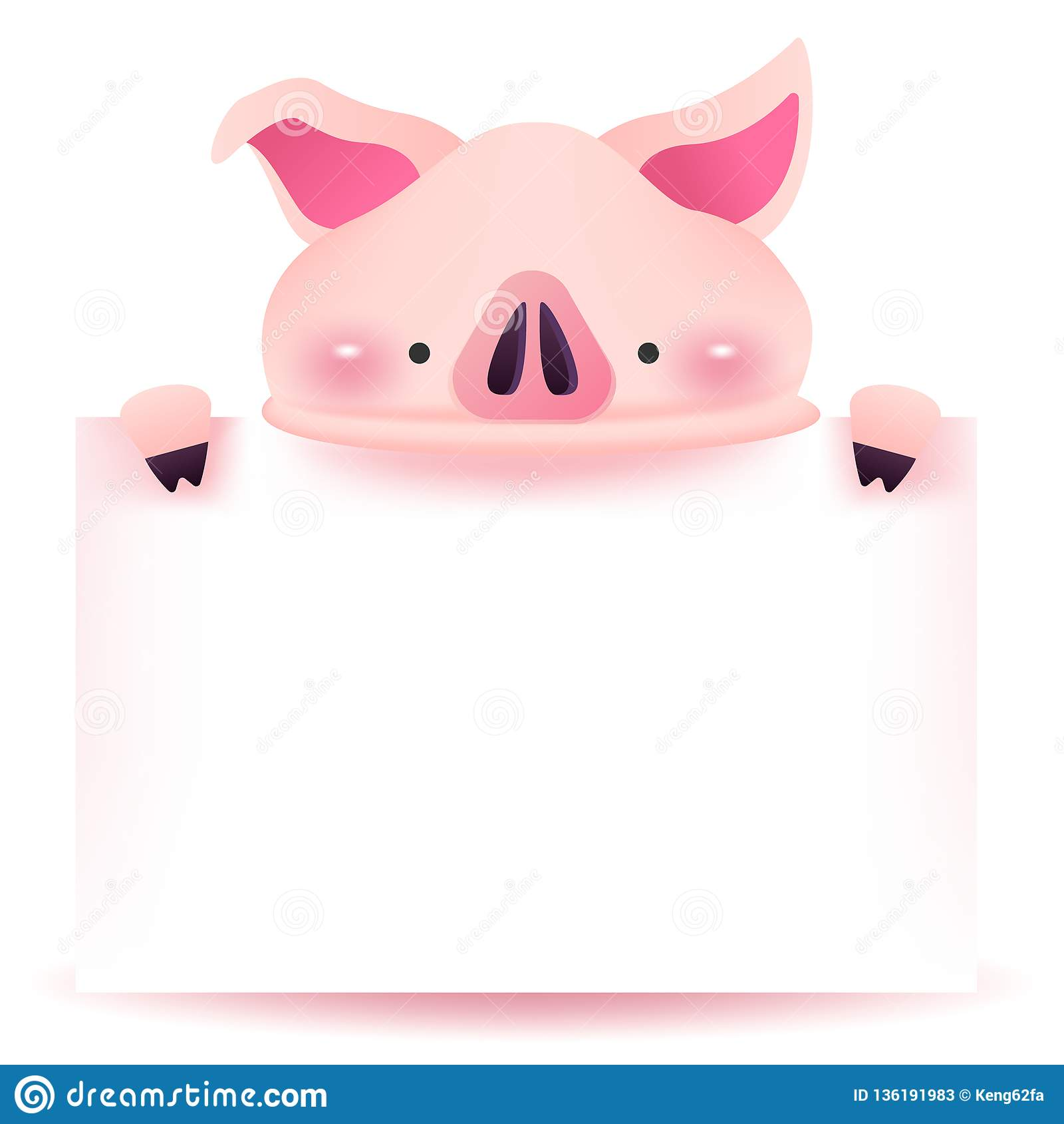 Cute Pig Character With Blank Signboard Chinese New