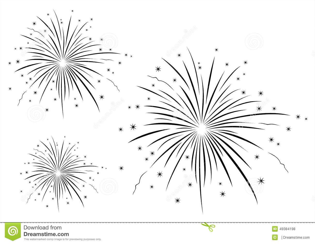 Vector Illustration Of Fireworks Black And White Stock