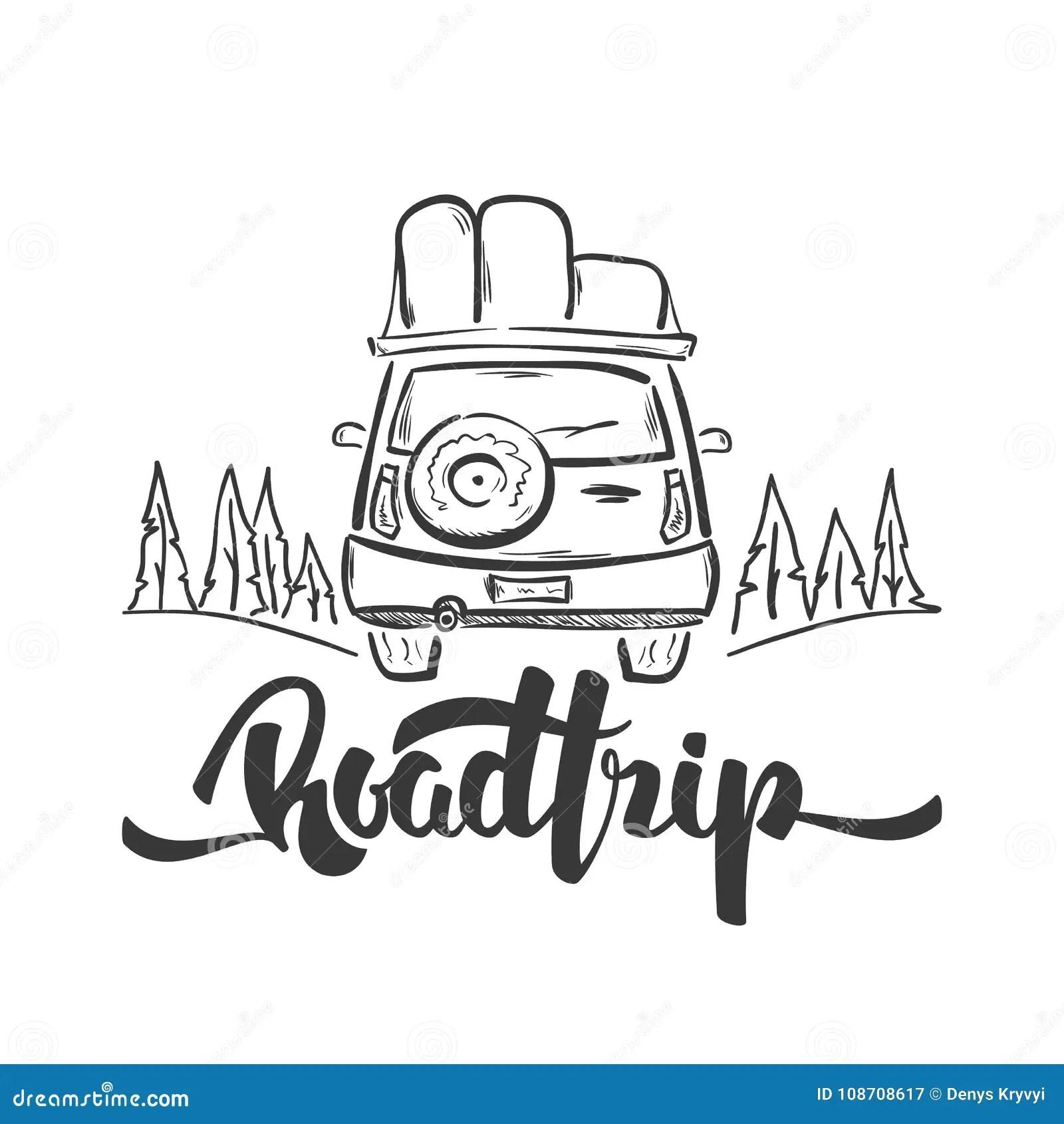Vector Illustration Hand Drawn Travel Car And Handwritten