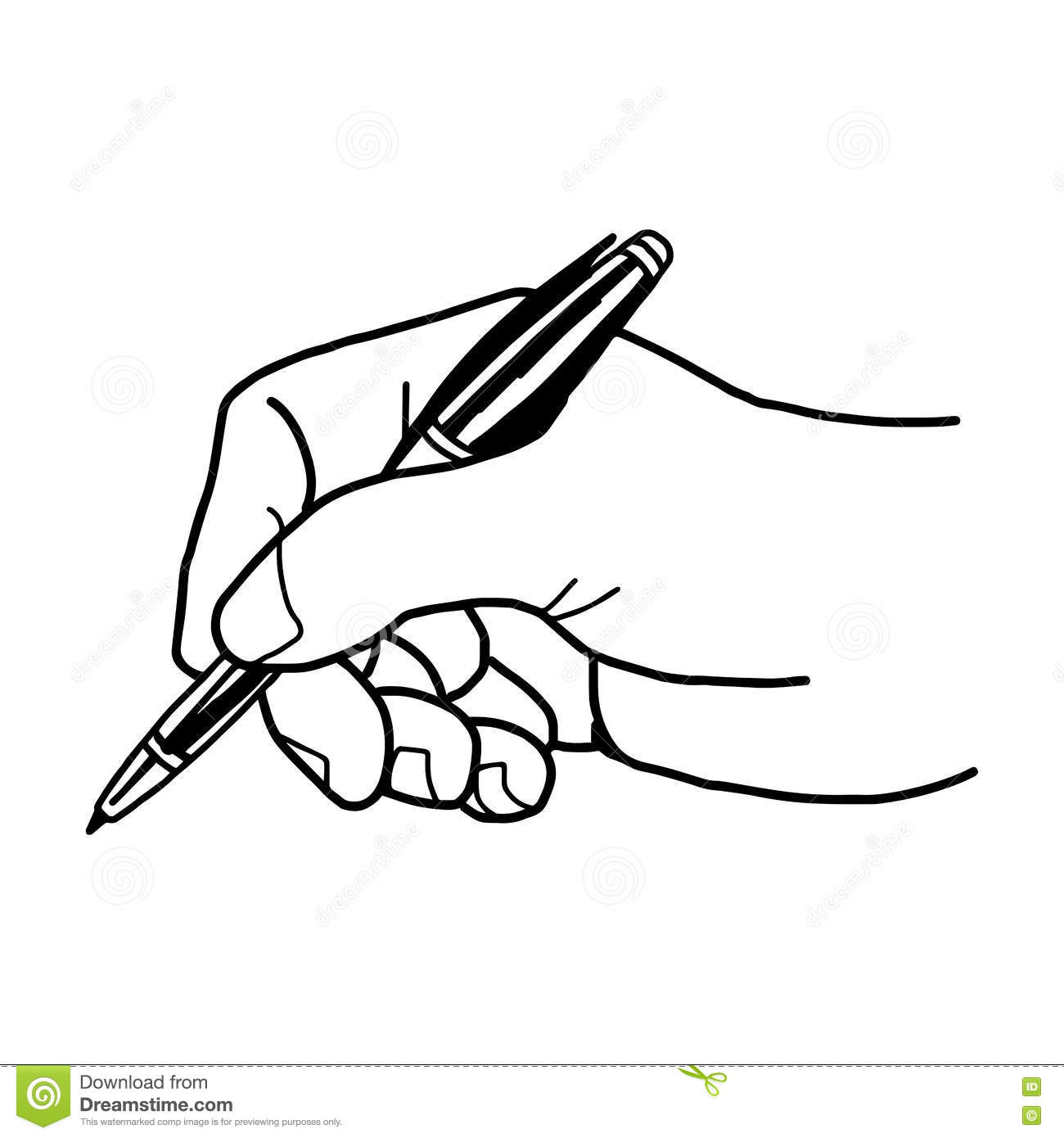 Vector Illustration Of A Hand Is Writing With Ballpoint