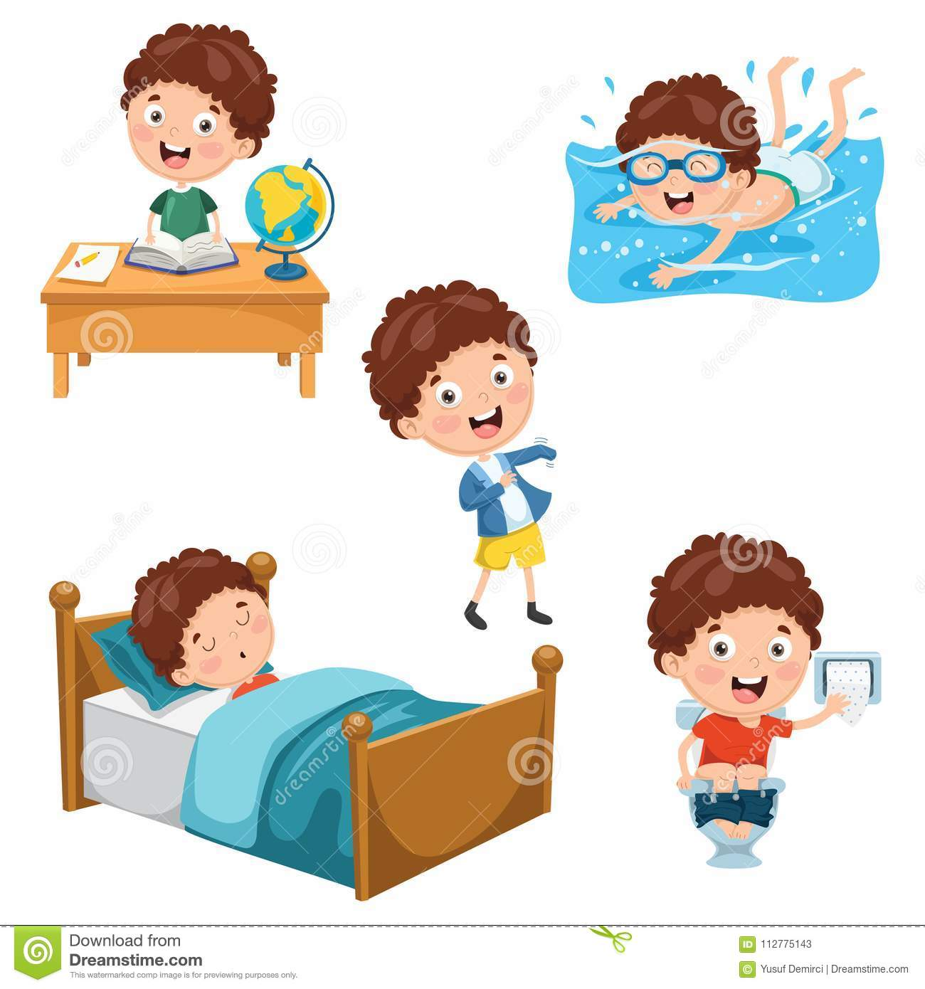 Vector Illustration Of Kids Daily Routine Activities Stock Illustration