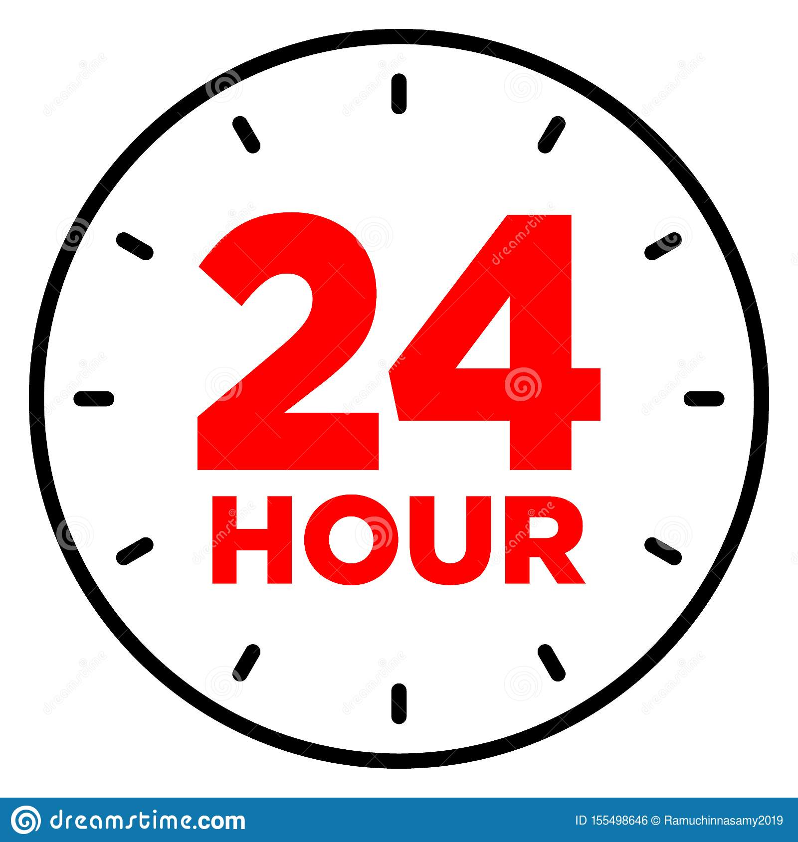 24 Hour Clock Icon Stock Vector Illustration Of Business