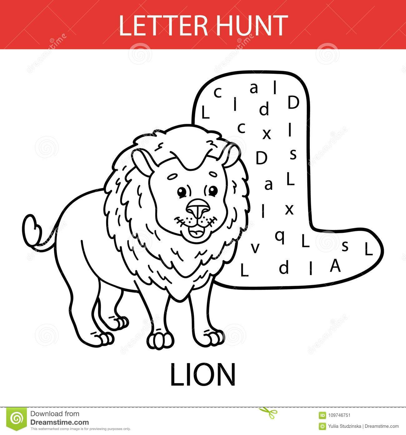 Animal Letter Hunt Stock Vector Illustration Of
