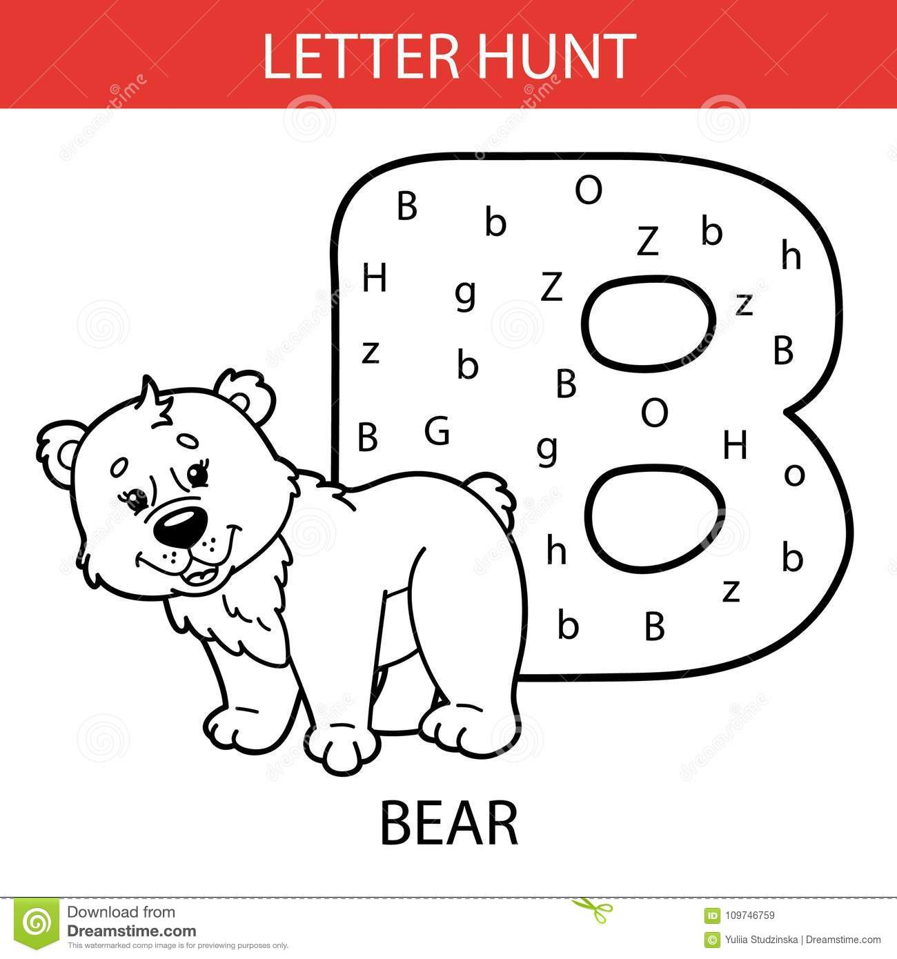 Animal Letter Hunt Bear Stock Vector Illustration Of Game