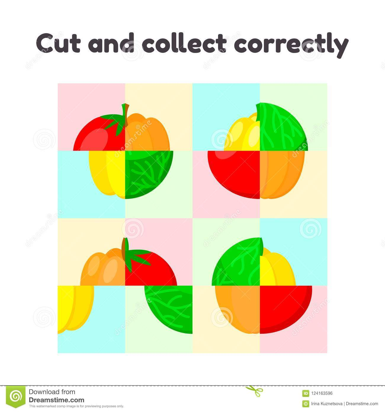 Puzzle Game For Preschool And School Age Children Cut And