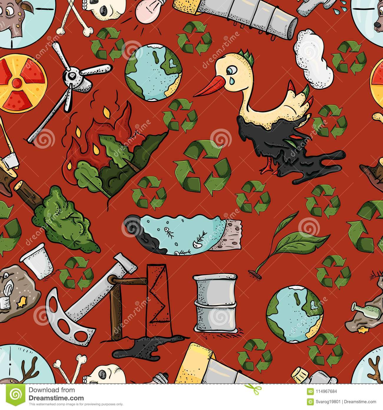 Seamless Pattern On The Theme Of Ecology The Pollution Of