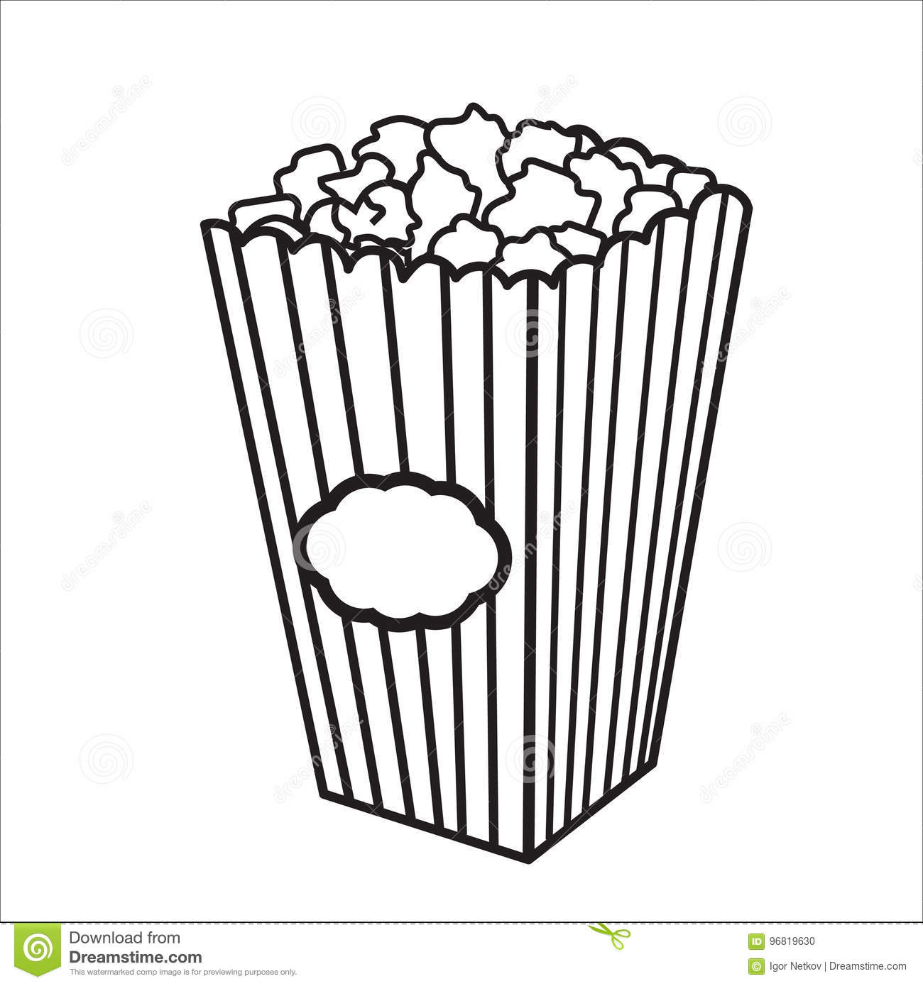 Popcorn Clipart Black And White