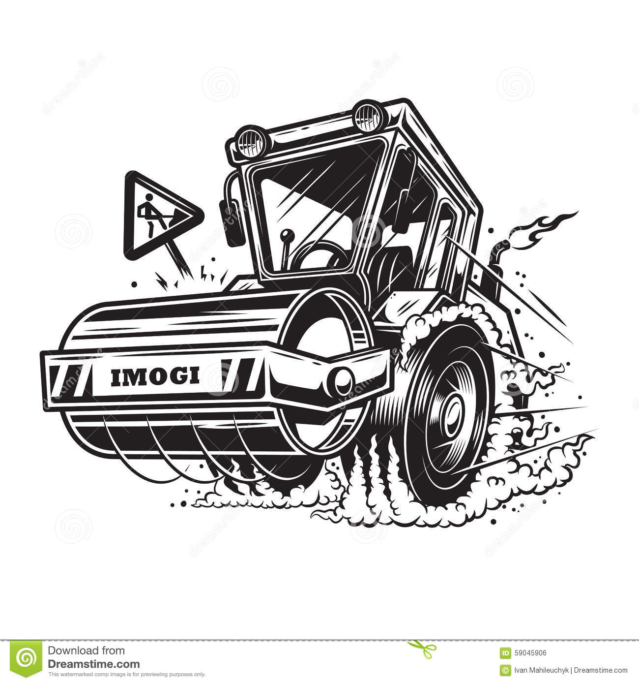 Vector Illustration Of Steamroller With Smoke Under The