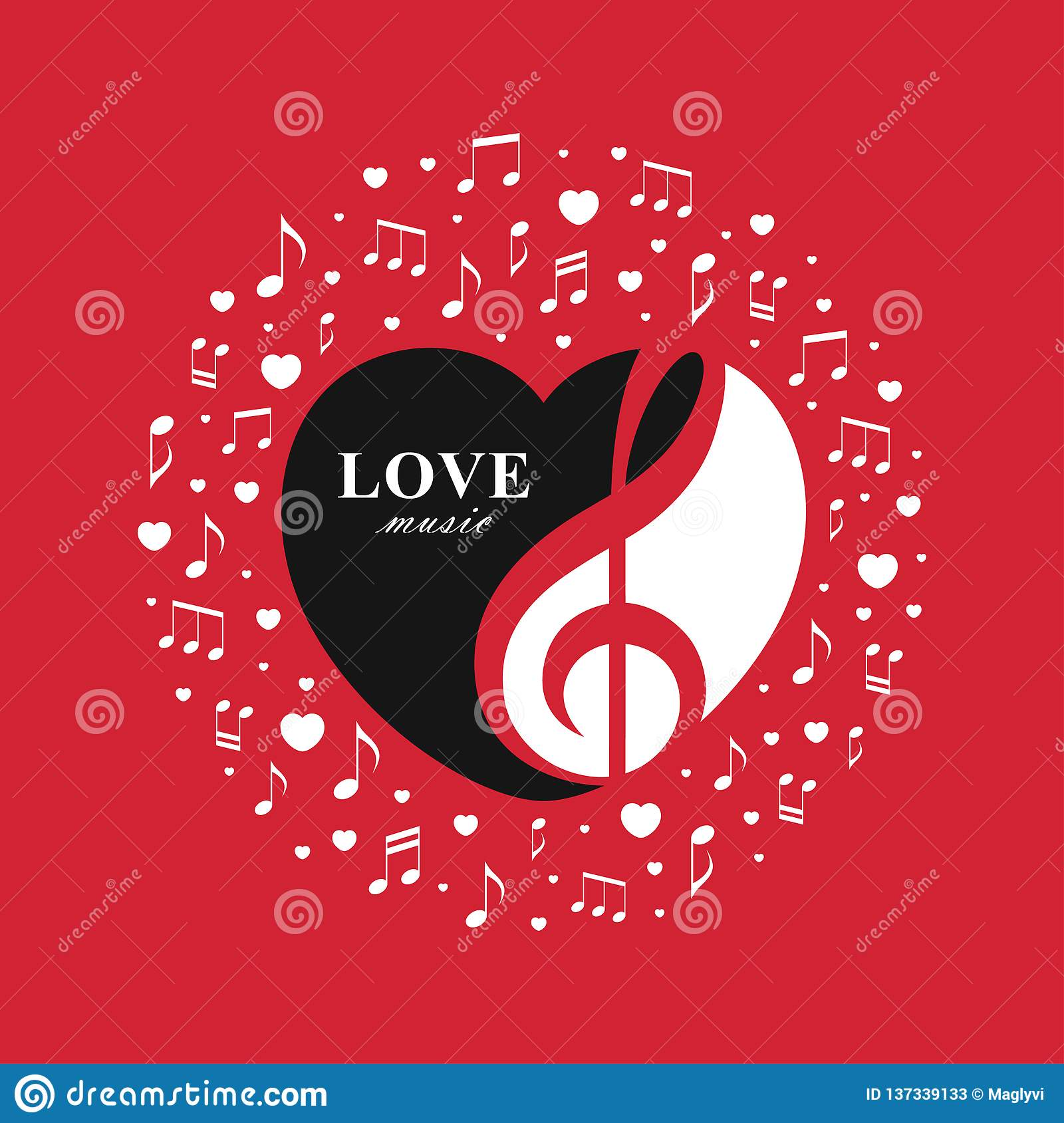 Love Music Red Banner With Treble Clef Inside The Heart