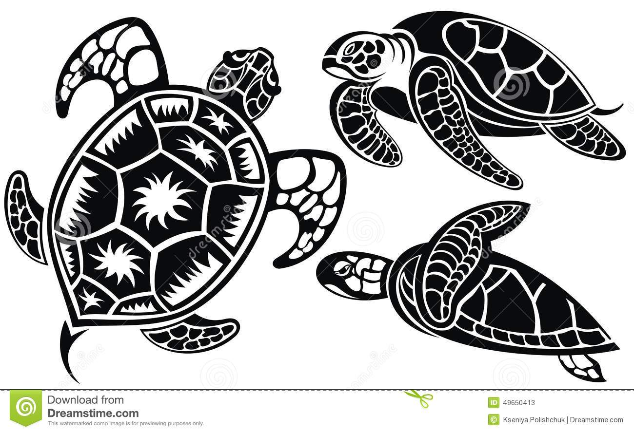 Vector Illustration Of Turtles Stock Vector