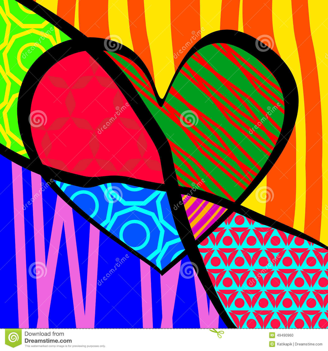 Vector Illustration For Valentines Day Pop Art Stock