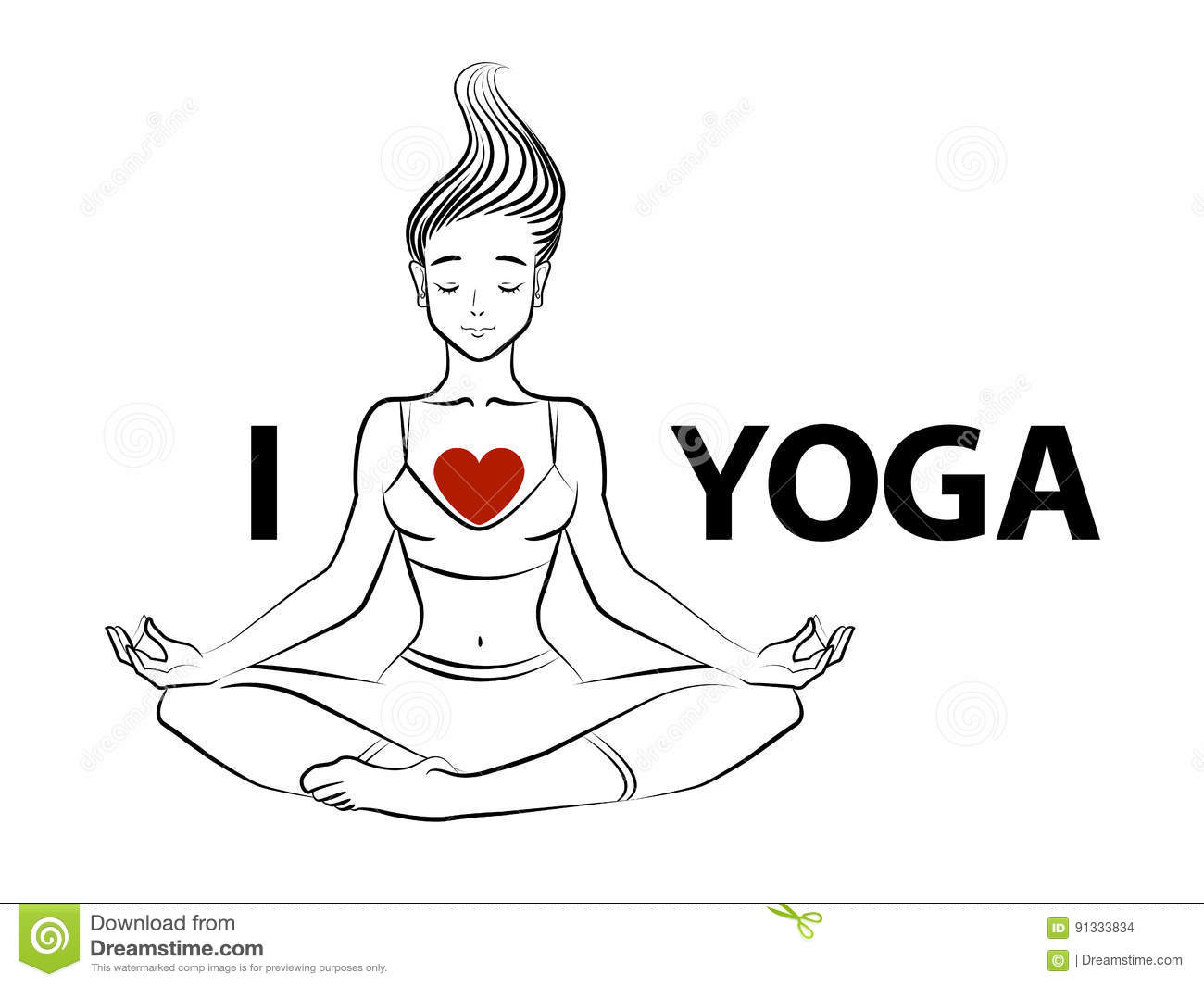 Vector Illustration Of A Young Woman In Lotus Pose With
