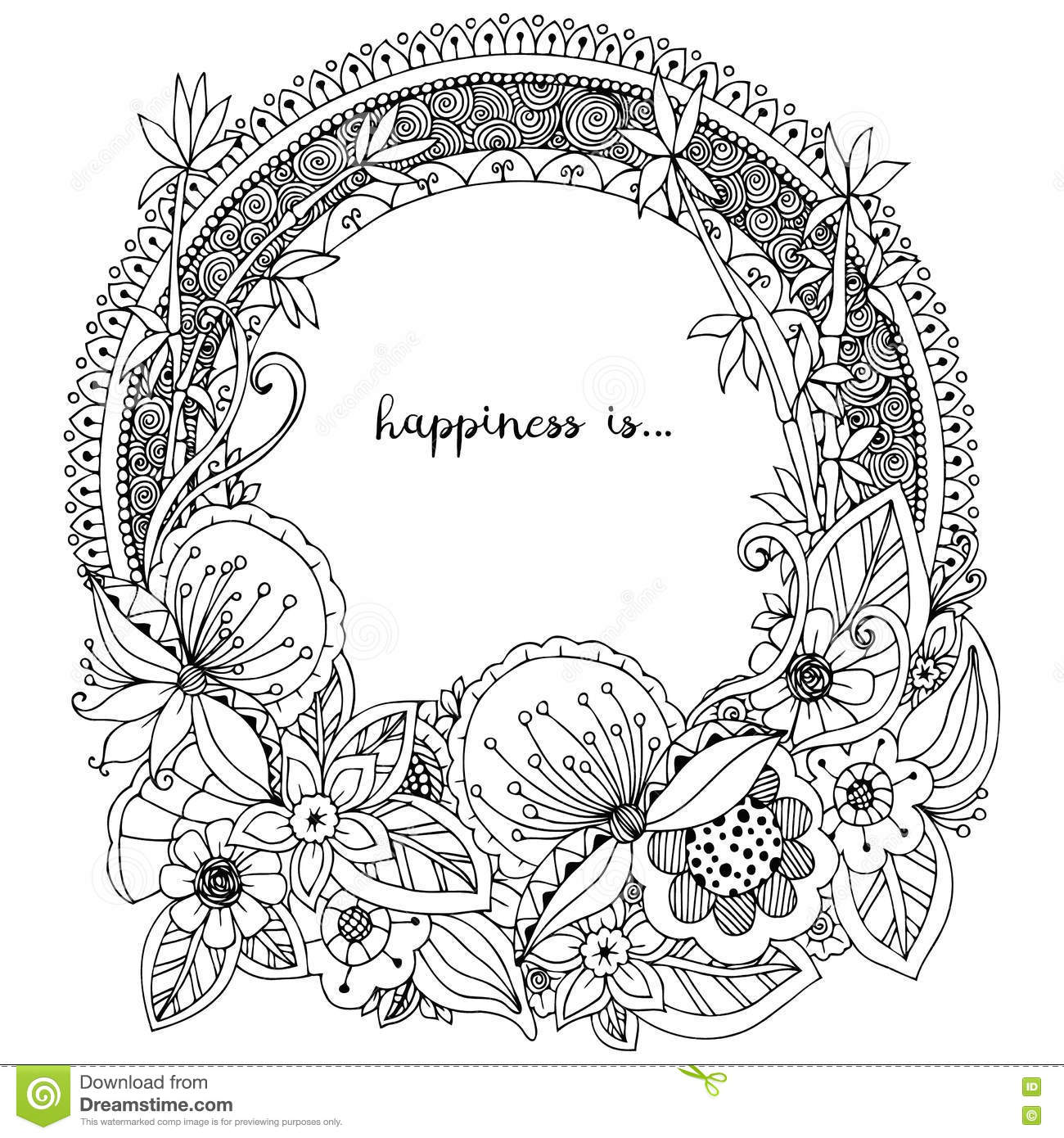 Vector Illustration Zen Tangle Doodle Round Frame With