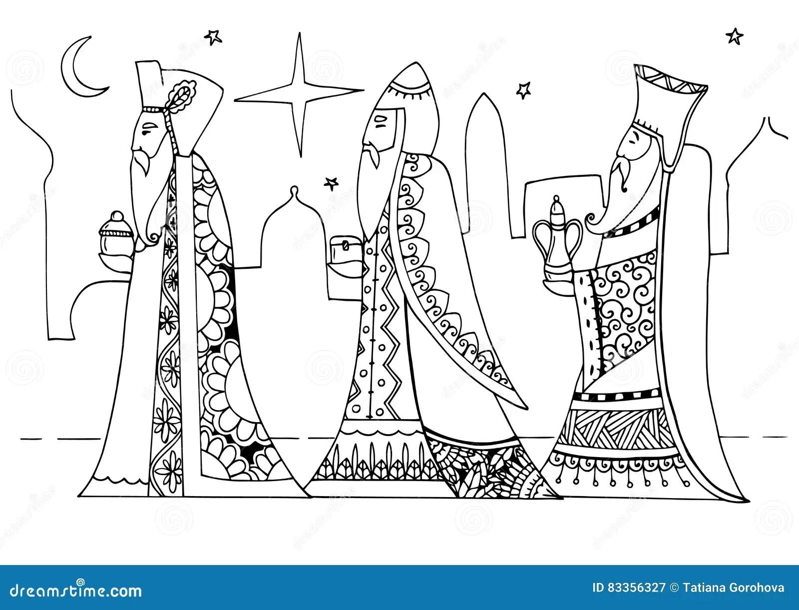 Vector Illustration Zentagl The Magi Are Ts To Baby Jesus Christmas Stock Vector