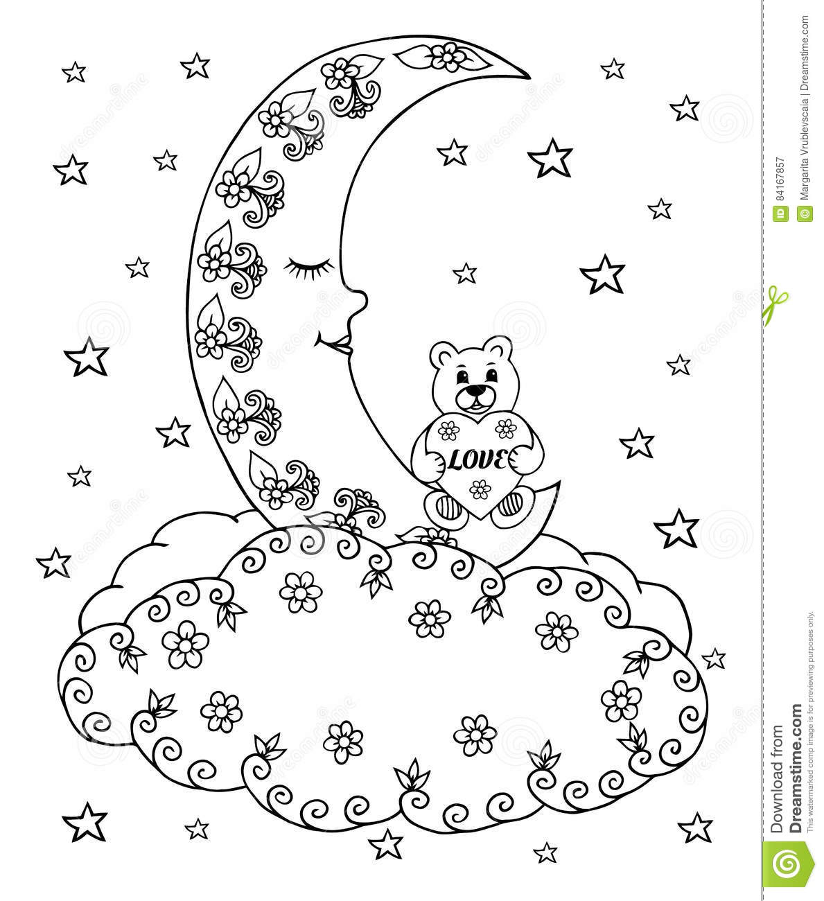 Vector Illustration Zentangl A Teddy Bear With A Heart On The Moon Among The Clouds And Stars