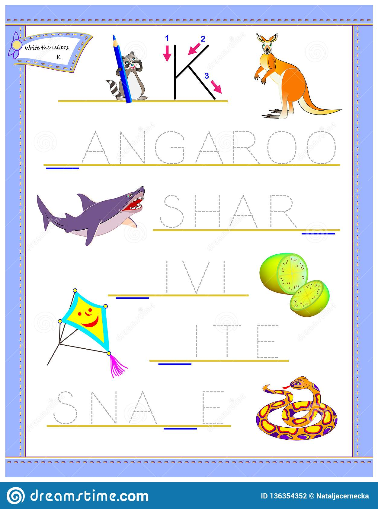 Tracing Letter K For Study English Alphabet Printable
