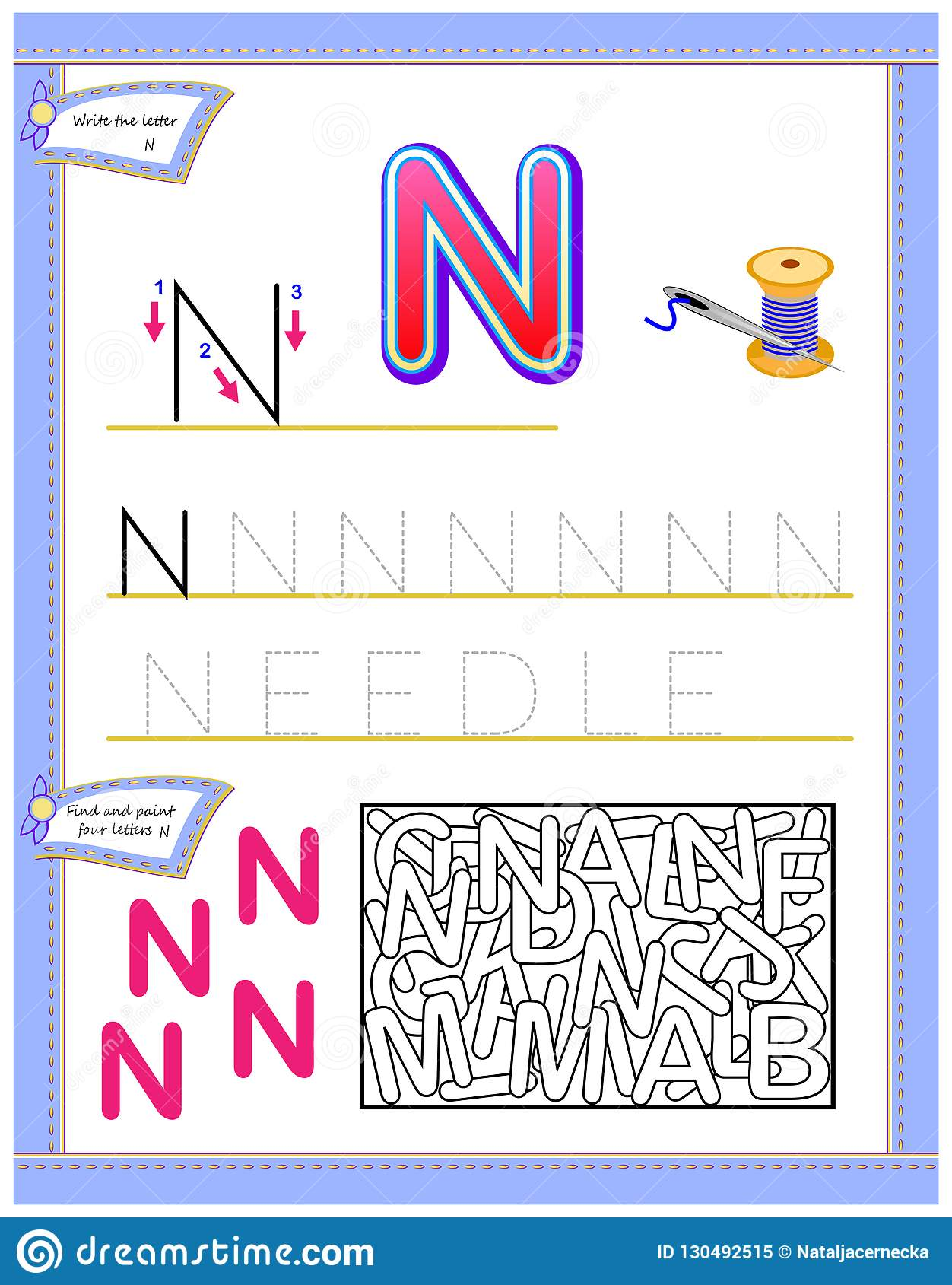 Worksheet For Kids With Letter N For Study English