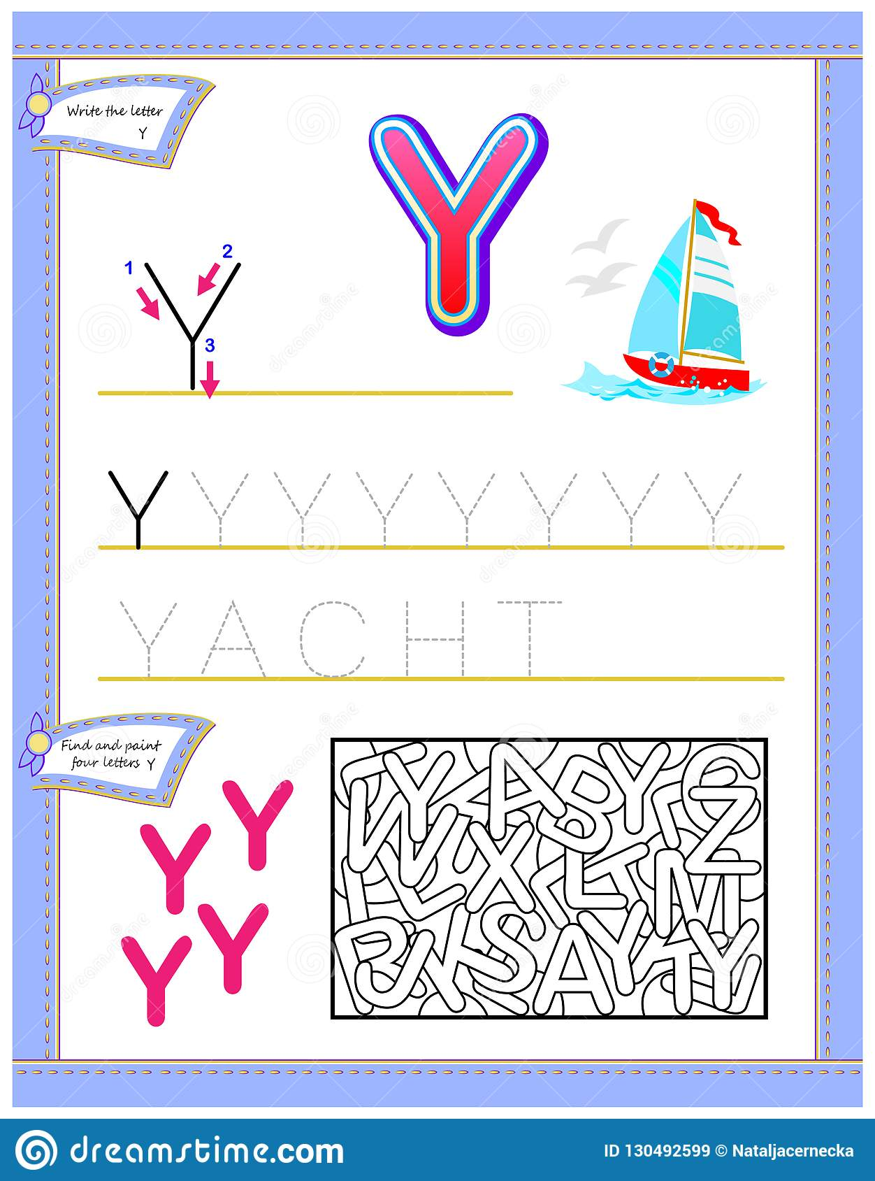 Worksheet For Kids With Letter Y For Study English