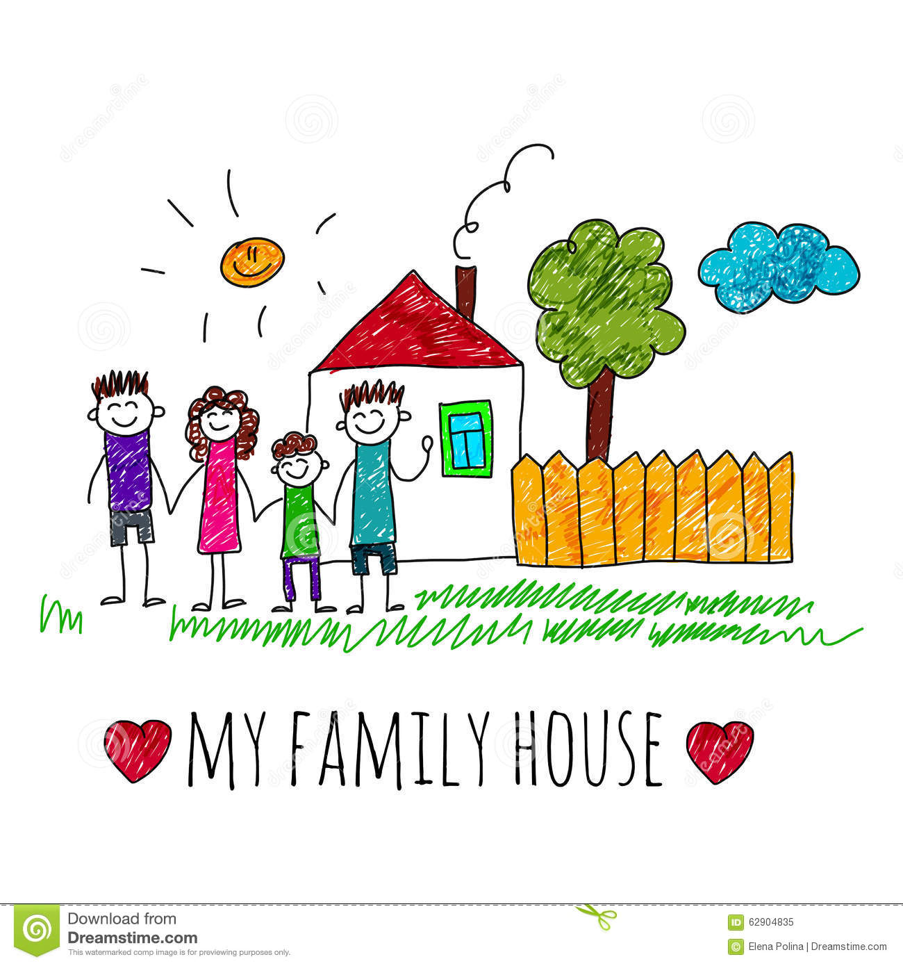 Vector Image My Family House Stock Vector