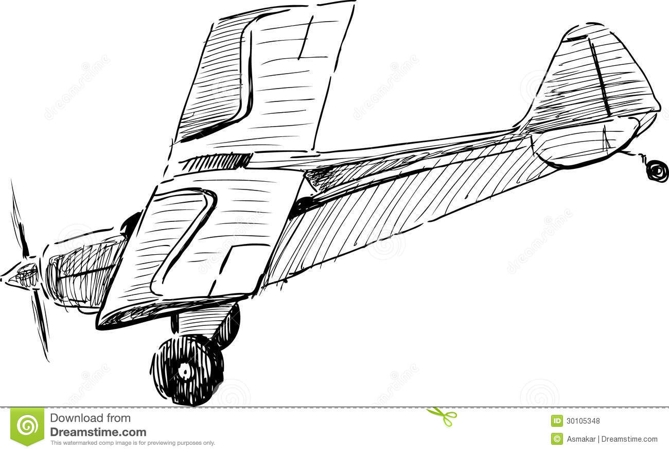 Flying Old Airplane Stock Vector Illustration Of Ancient