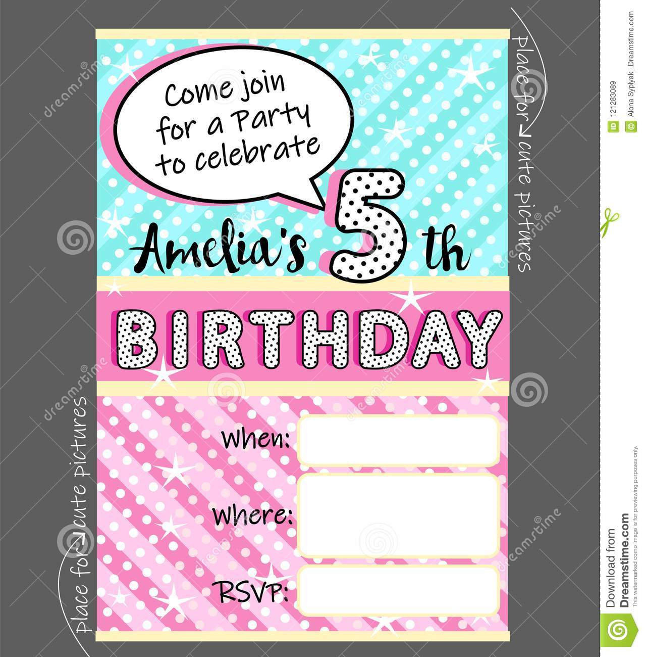 Vector Invitation Template For Girly Party Cute Invite Card For Birthday Baby Shower For Girl Stock Vector Illustration Of Pink Template 121283089