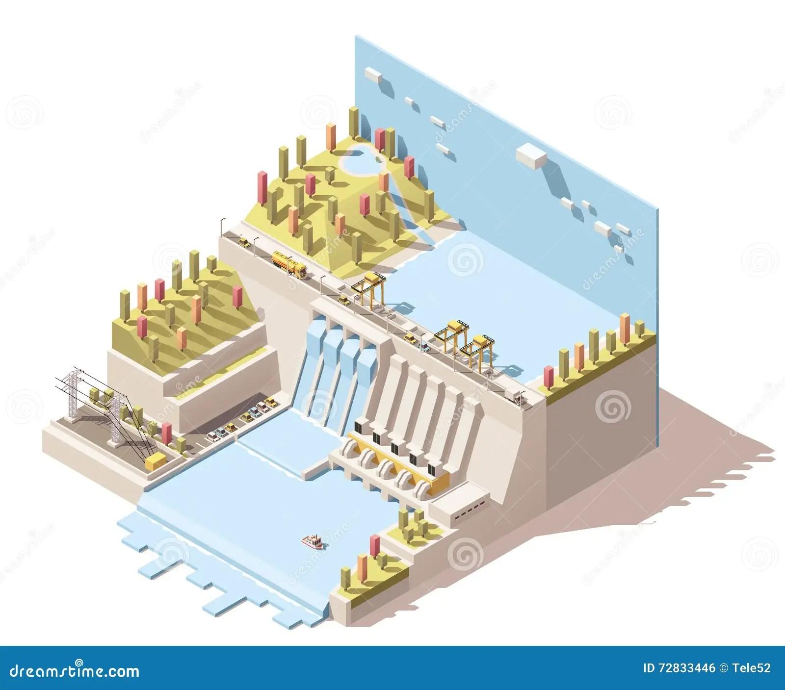 Vector Isometric Hydro Power Plant Infographic Stock Vector