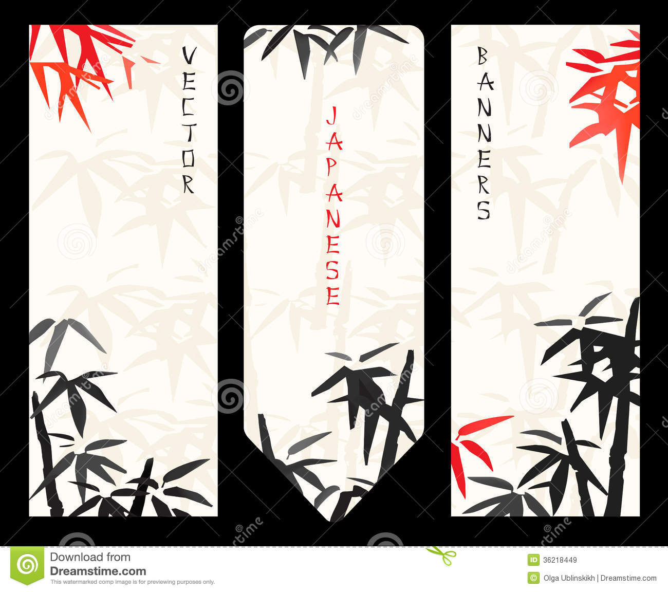 Vector Japanese Banners Stock Illustration Image Of Forest 36218449