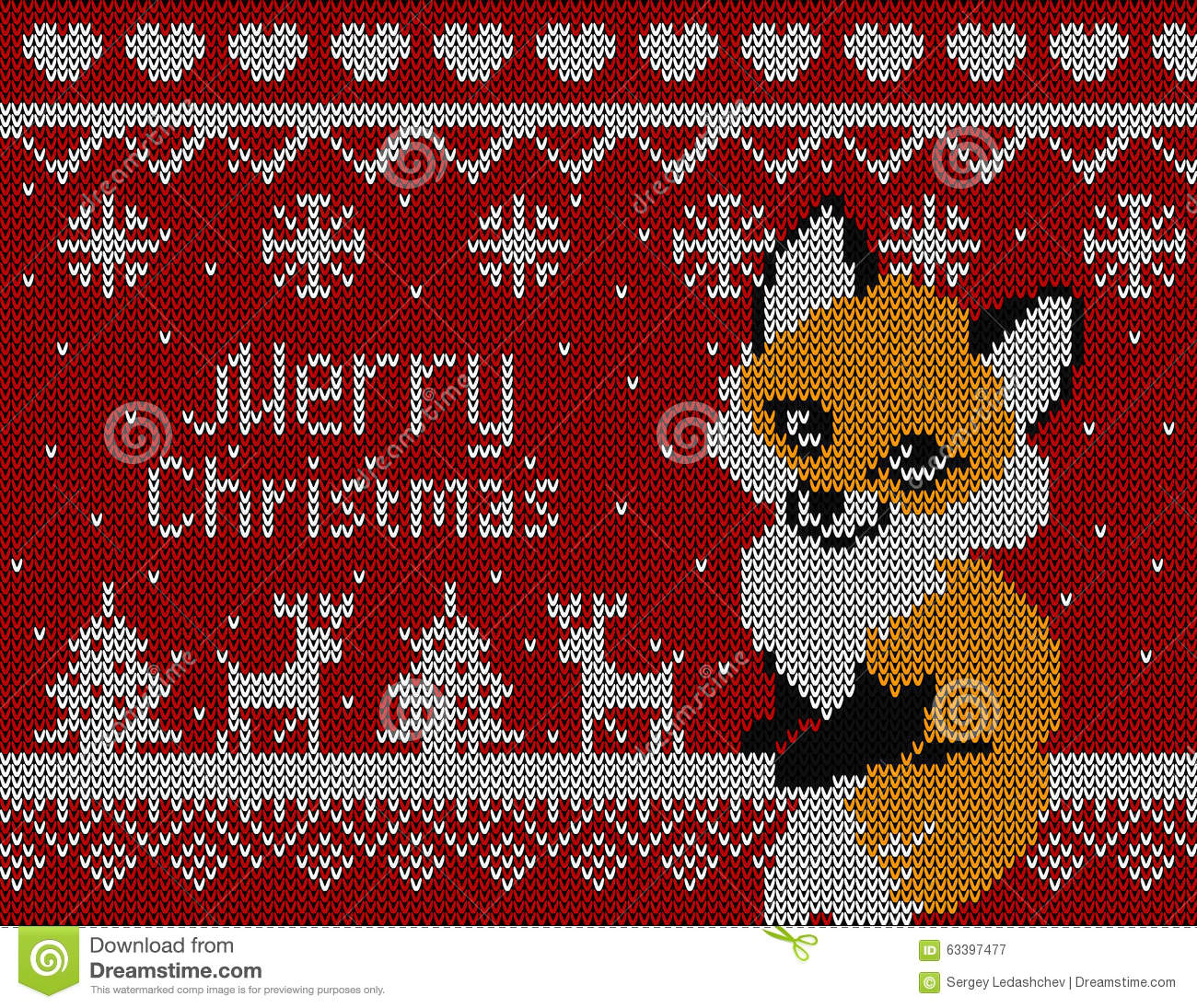 Vector Knitted Christmas Card With Fox Deer And Tree Red