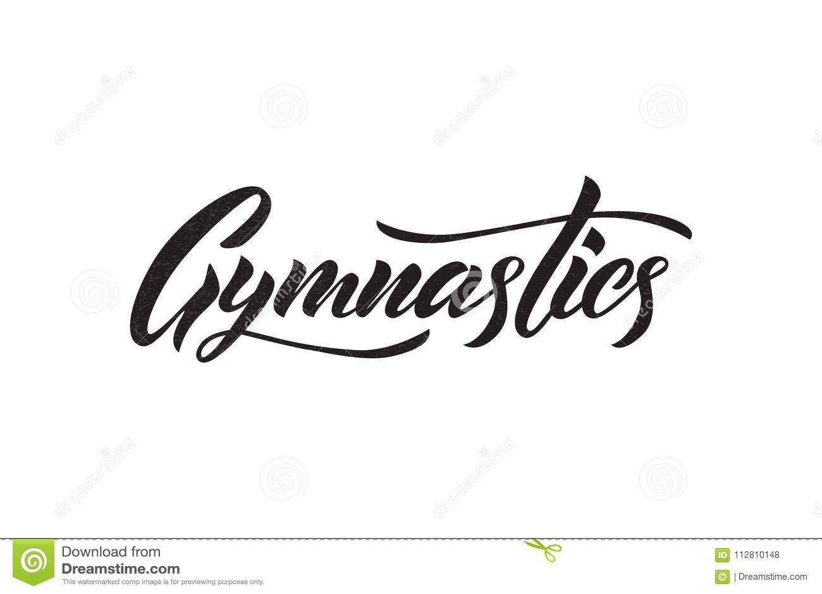 Vector Lettering Of Word Gymnastics Black Color Stock