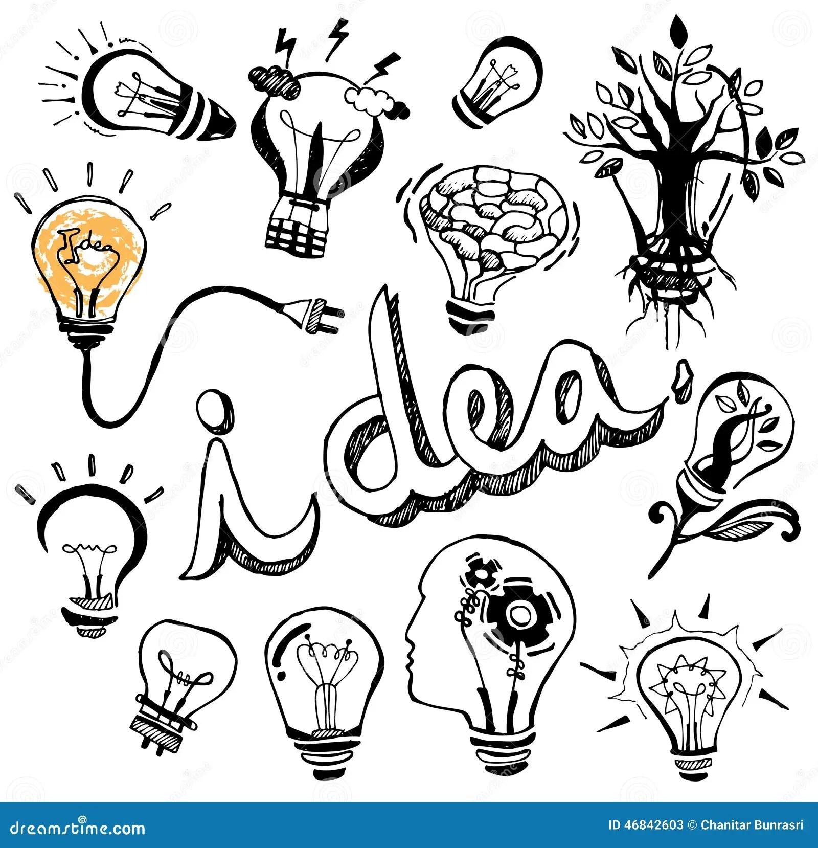 Vector Light Bulb Doodle Hand Drawn Stock Vector