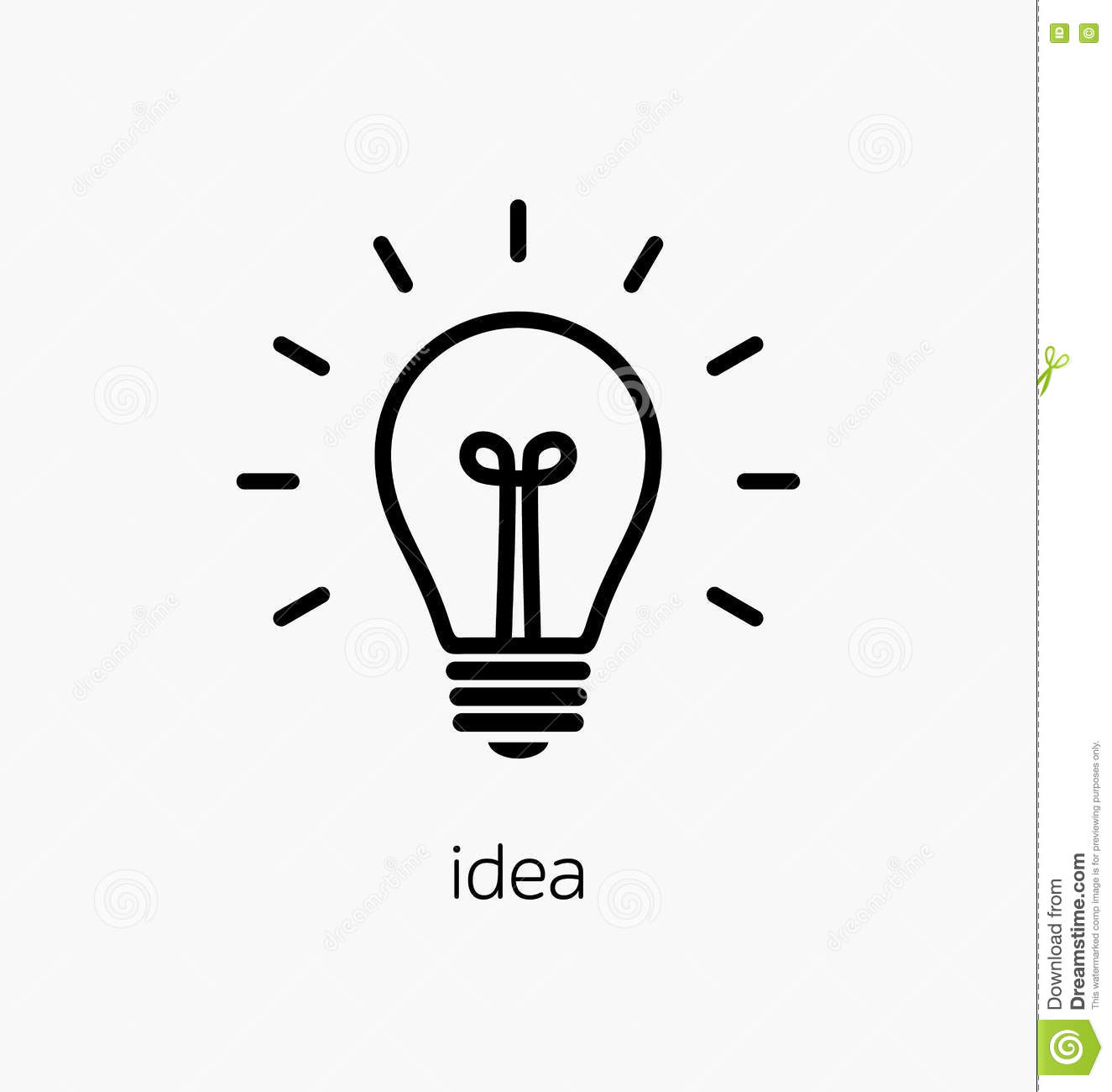 Vector Light Bulb Icon With Concept Of Idea Brainstorming