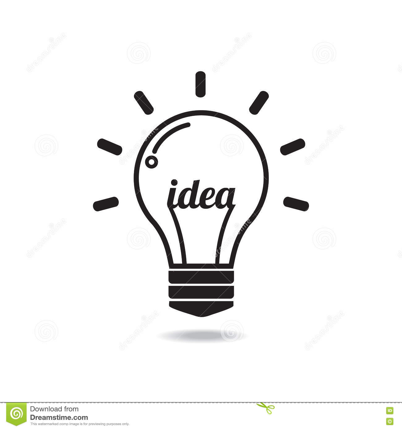 Vector Light Bulb Icon With Concept Of Idea Stock Vector