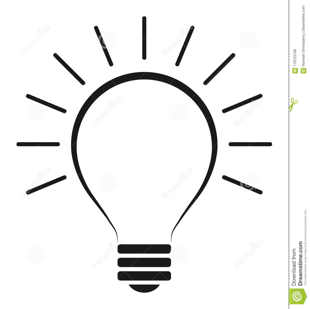 Light Bulb Icon Stock Vector Illustration Of Bright