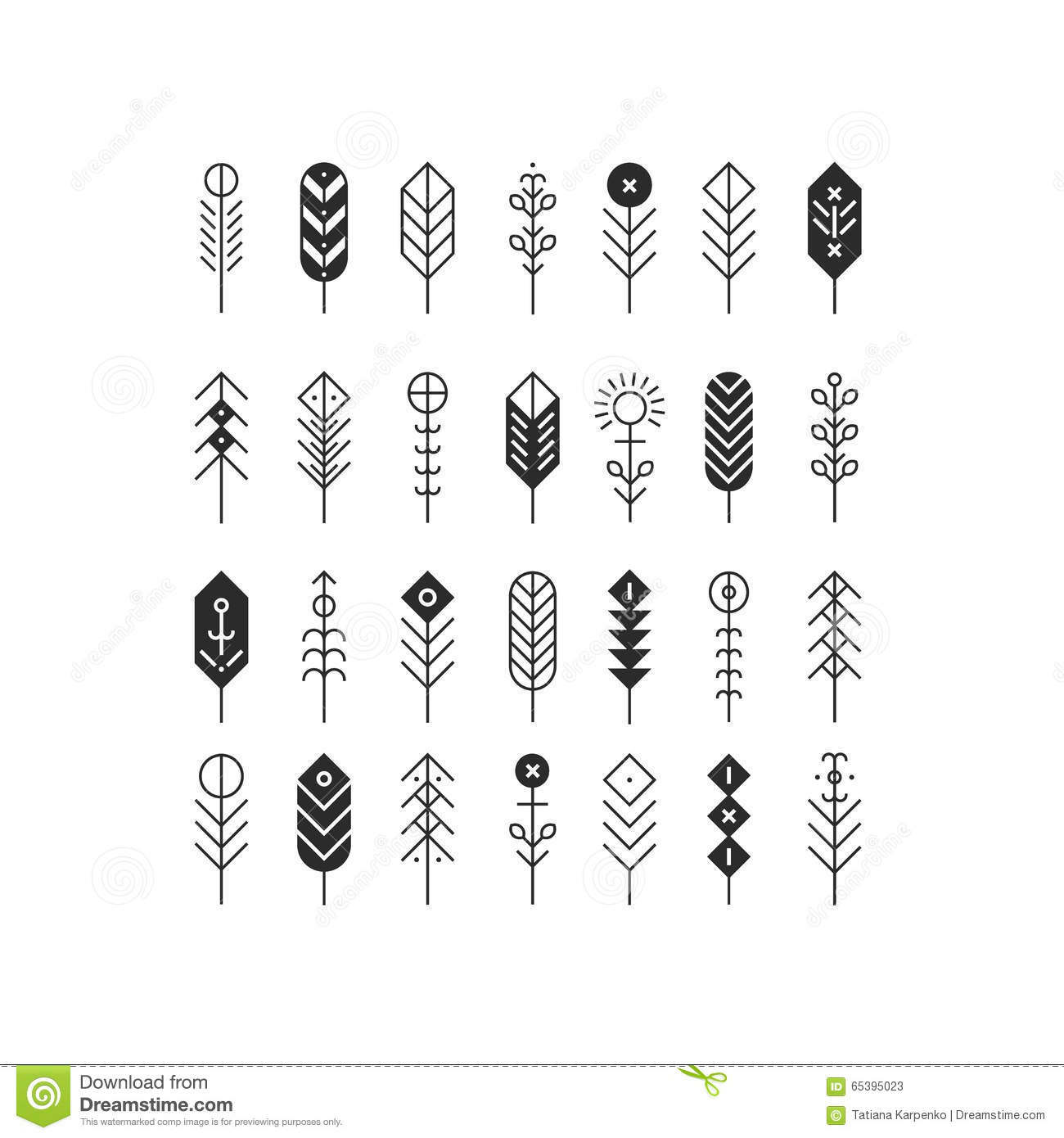 Vector Line Feathers And Arrows Stock Vector