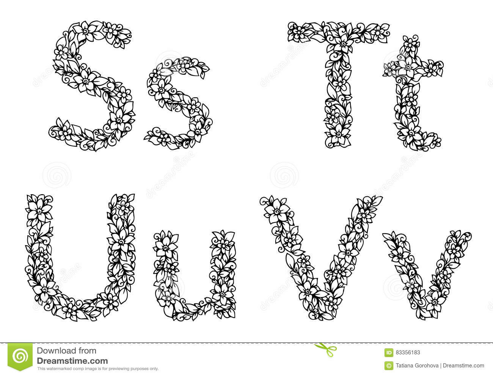 Vector Lo Zentangl Dell Illustrazione Le Lettere La S T