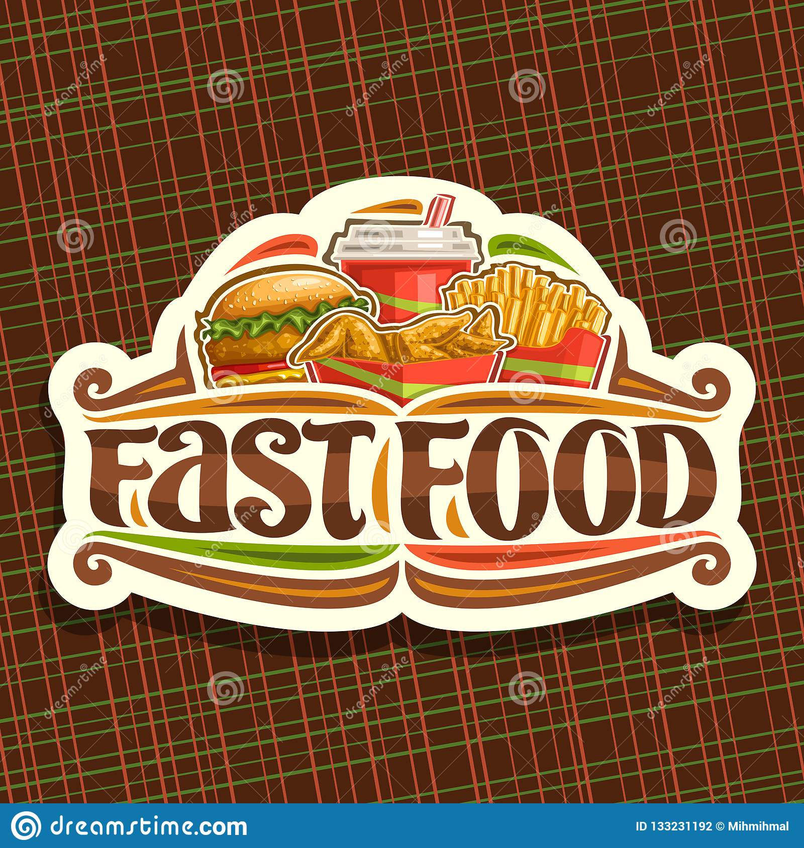 Vector Logo For Fast Food Stock Vector Illustration Of