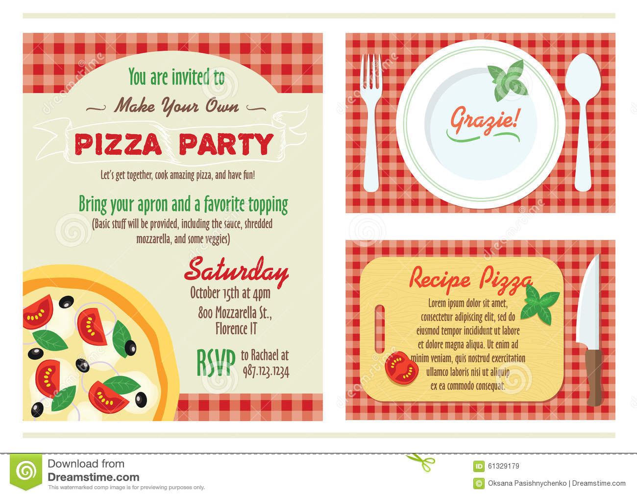 Vector Make Your Own Pizza Party Invitation Set Stock