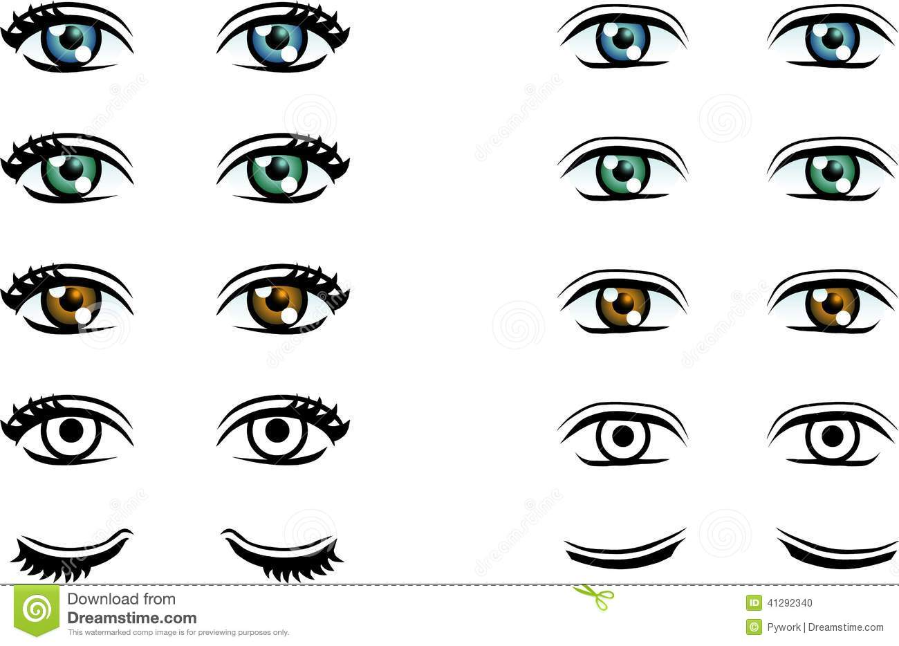 Vector Man And Woman Eyes In Different Color Stock Vector