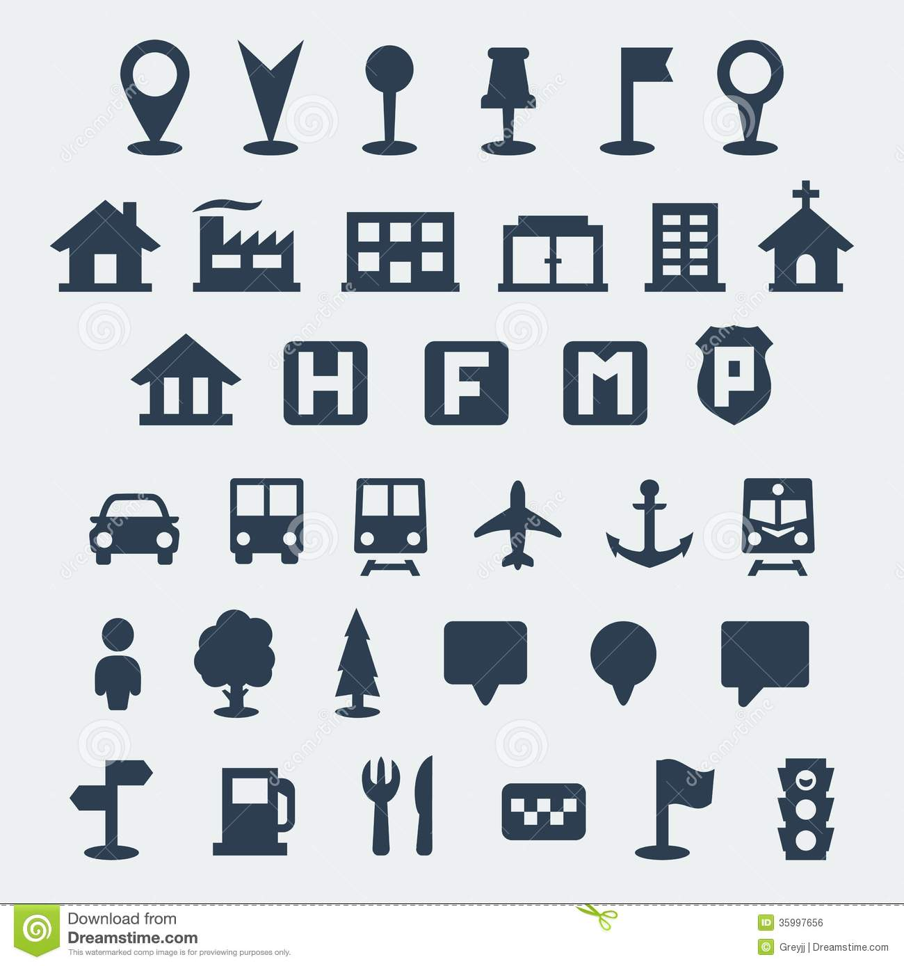 Vector Map Icons Set Stock Vector Illustration Of Icon