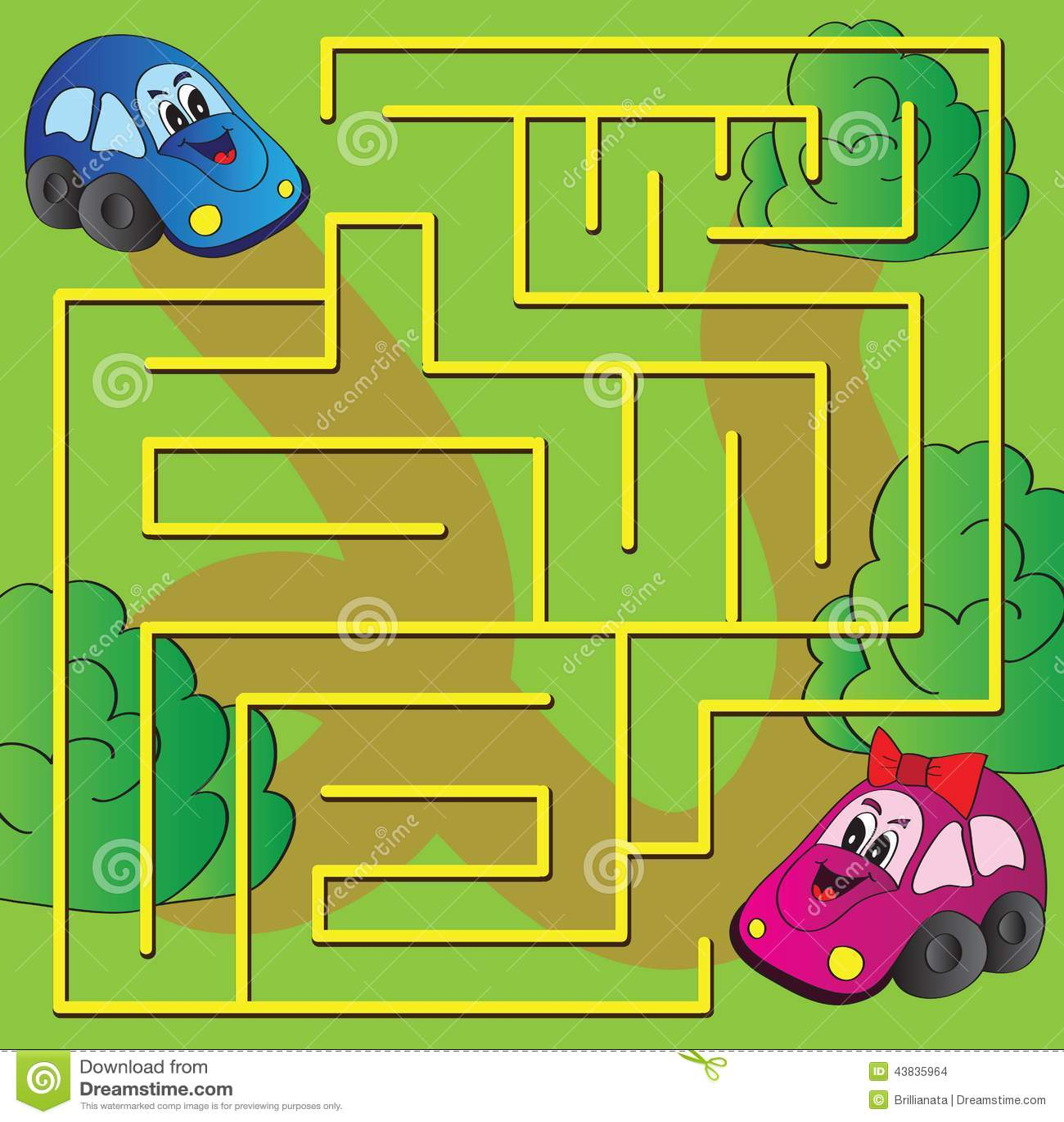 Cars Labyrinth Vector Illustration
